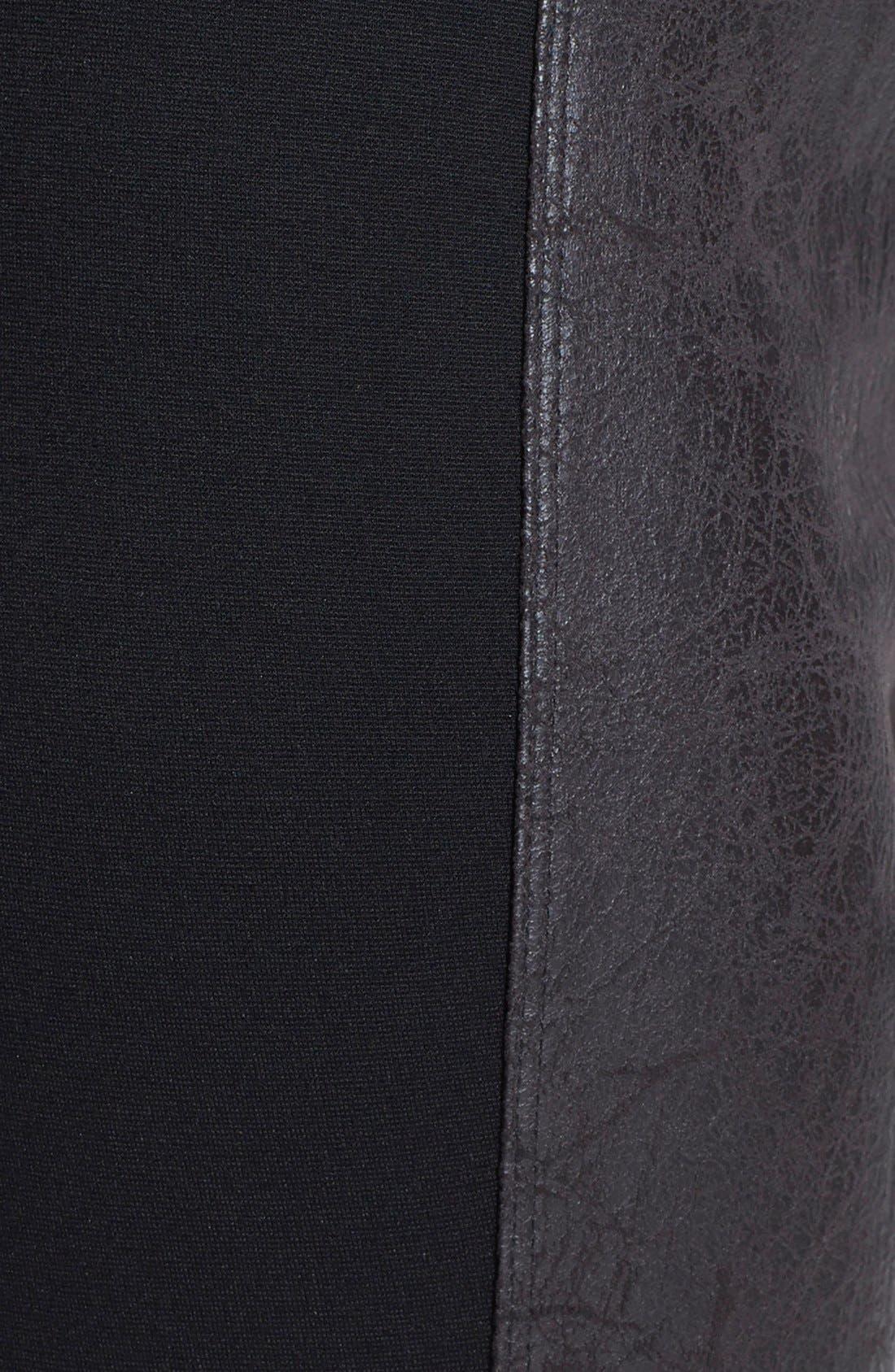 'Rue' Faux Leather & Ponte Knit Leggings,                             Alternate thumbnail 4, color,                             001