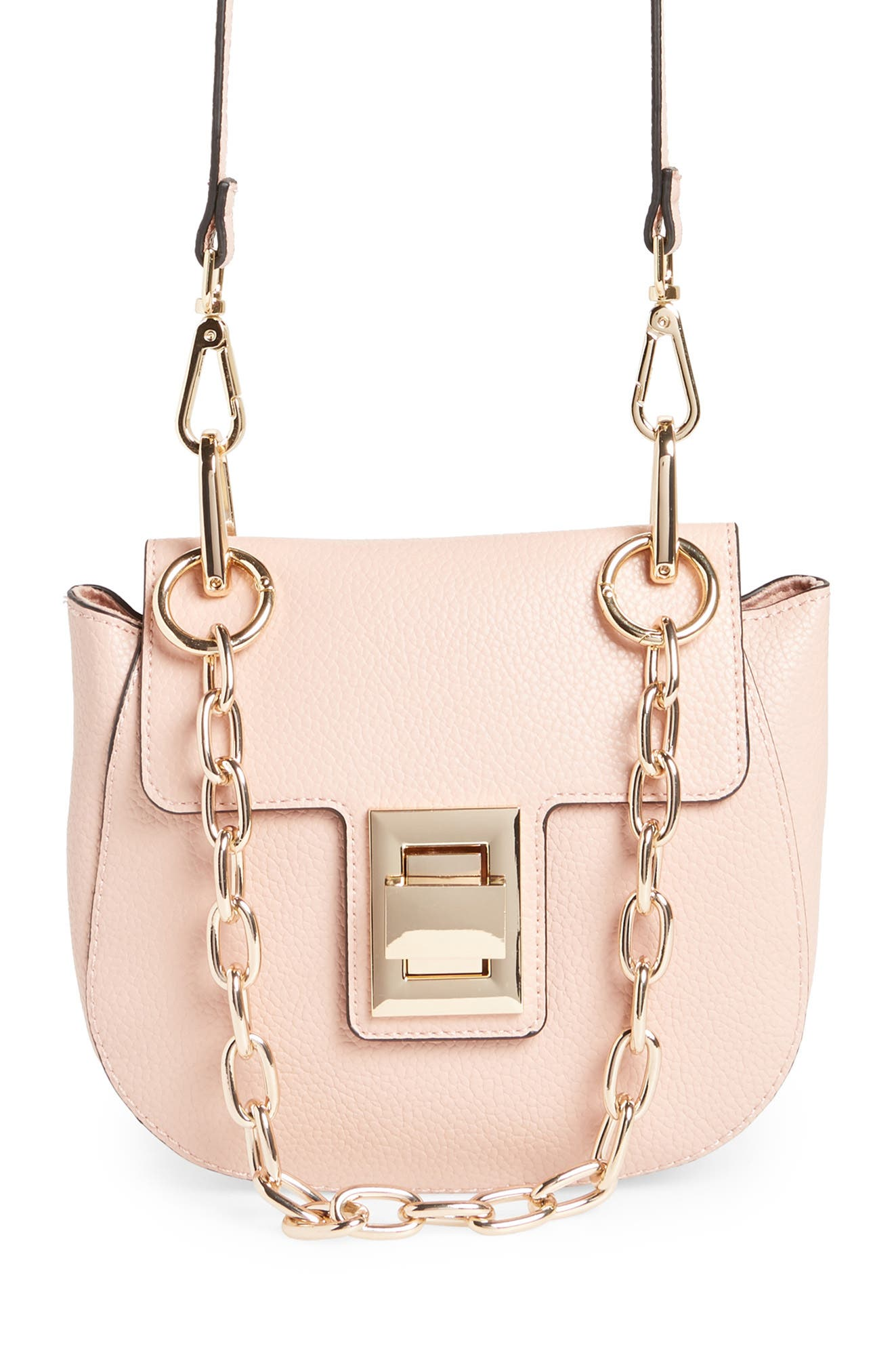 Draped Chain Faux Leather Crossbody Bag,                         Main,                         color, BLUSH