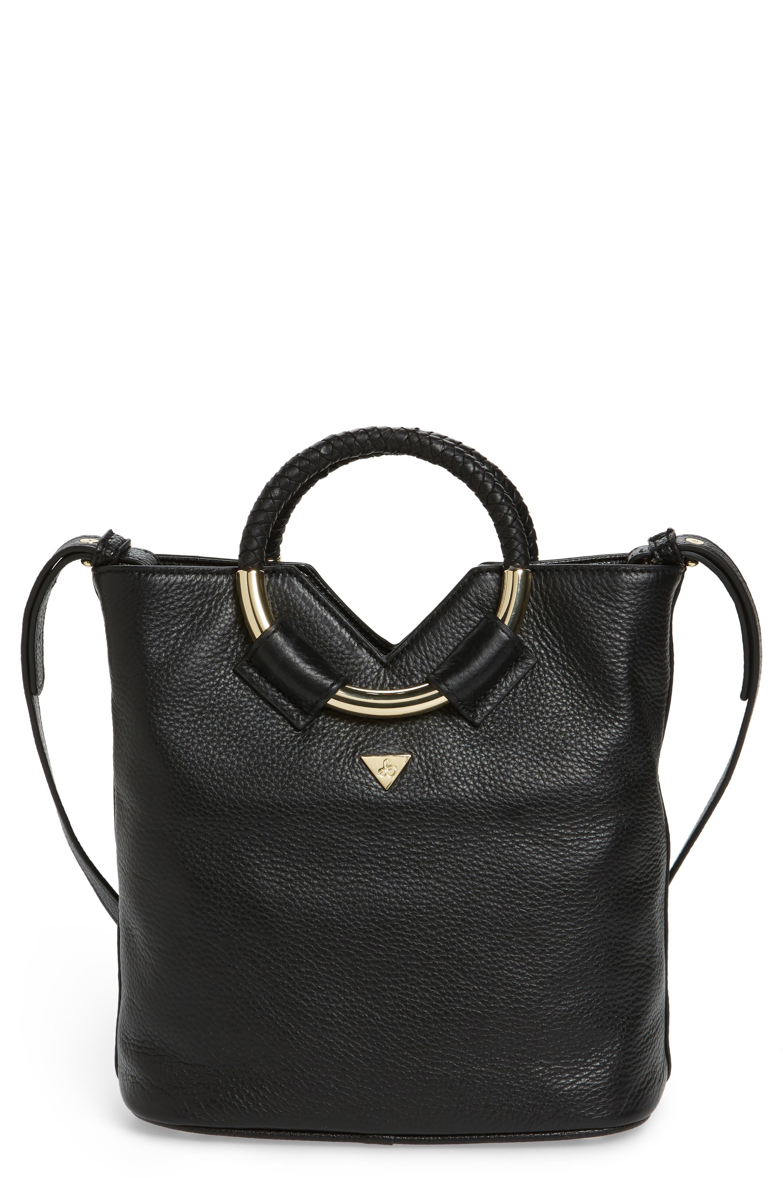 Small Elina Leather Crossbody Bag,                             Main thumbnail 1, color,                             001