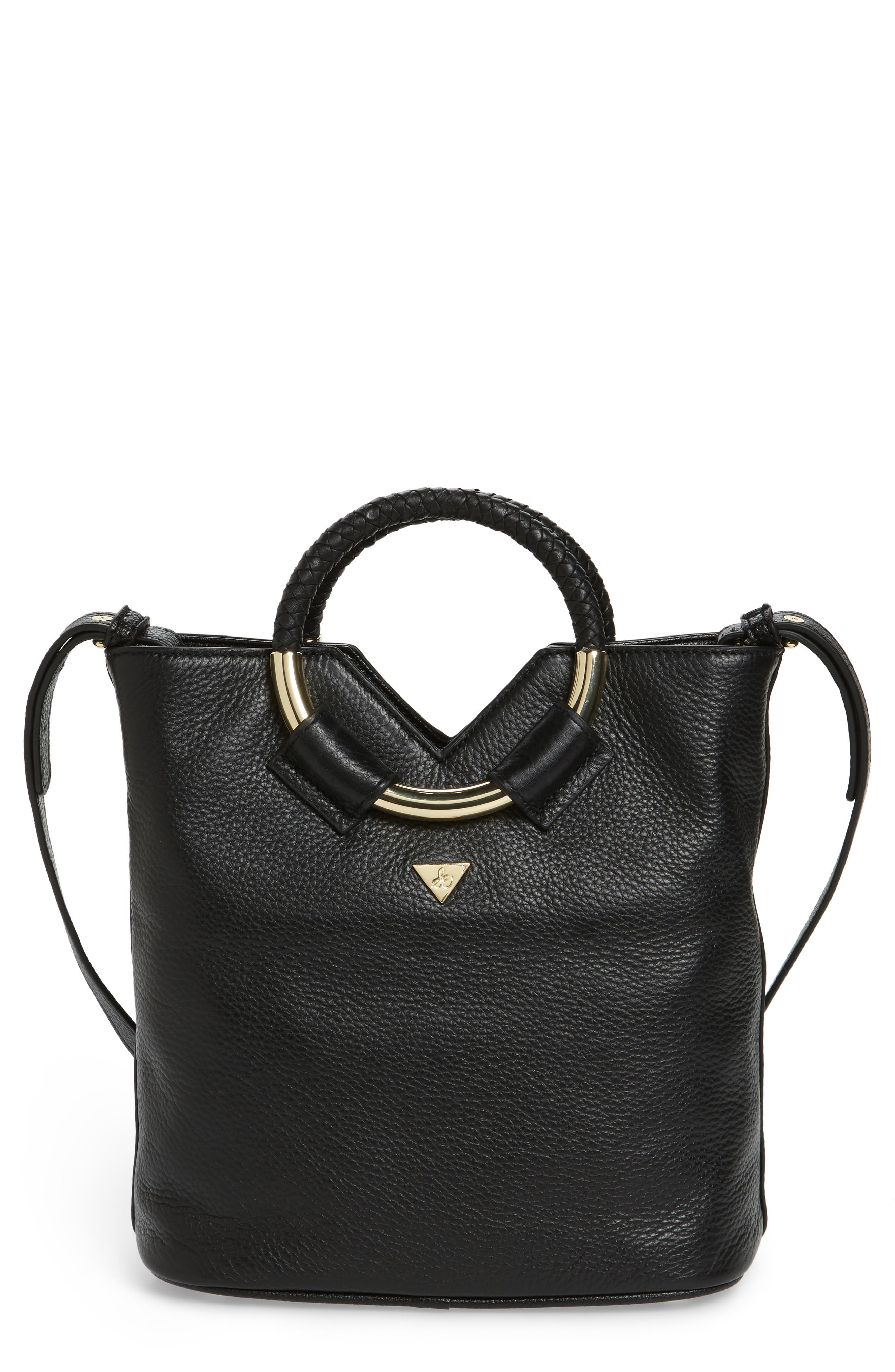 Small Elina Leather Crossbody Bag,                         Main,                         color, 001