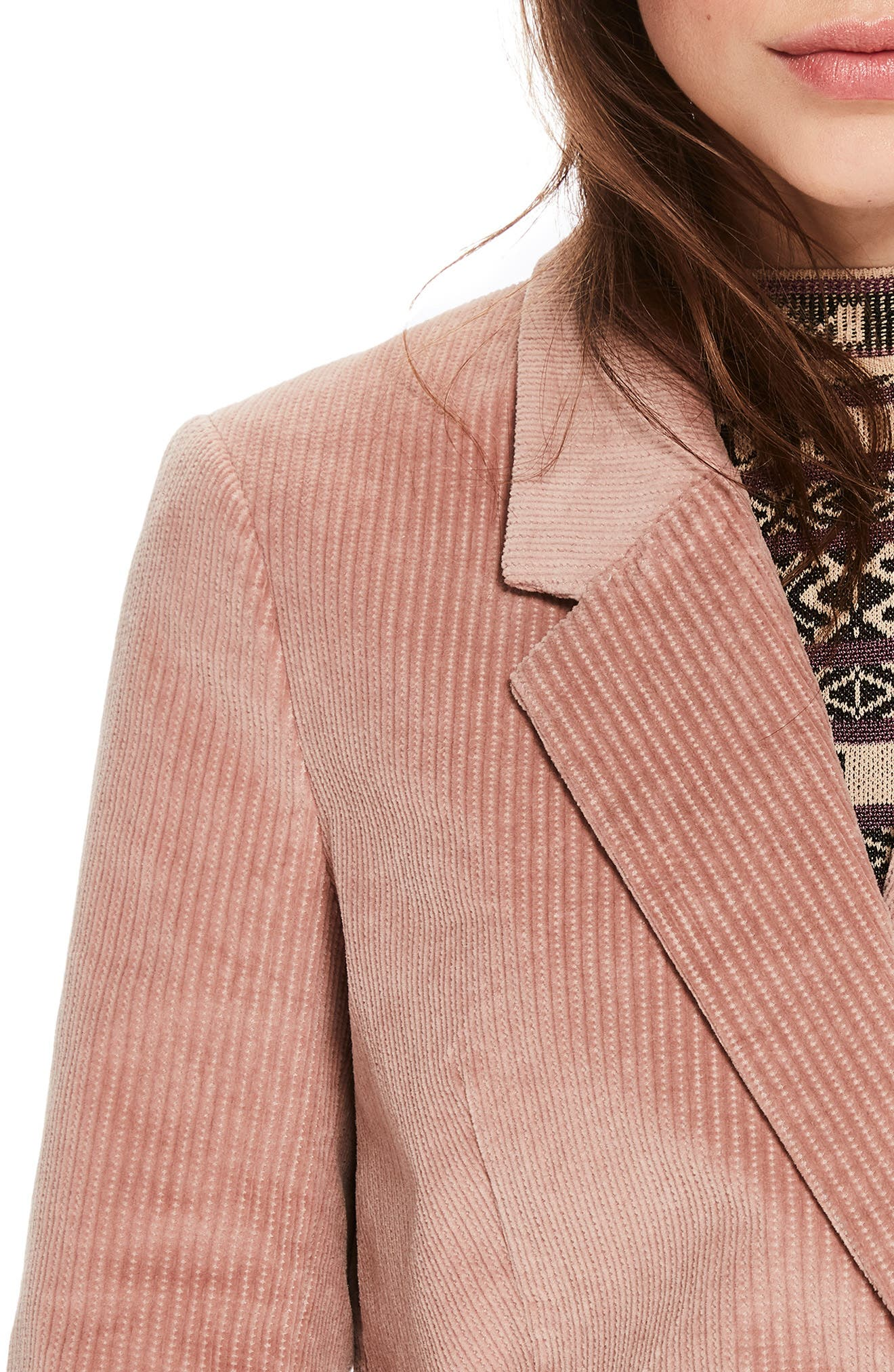 Double Breasted Stretch Corduroy Blazer,                             Alternate thumbnail 3, color,                             MISTY PINK