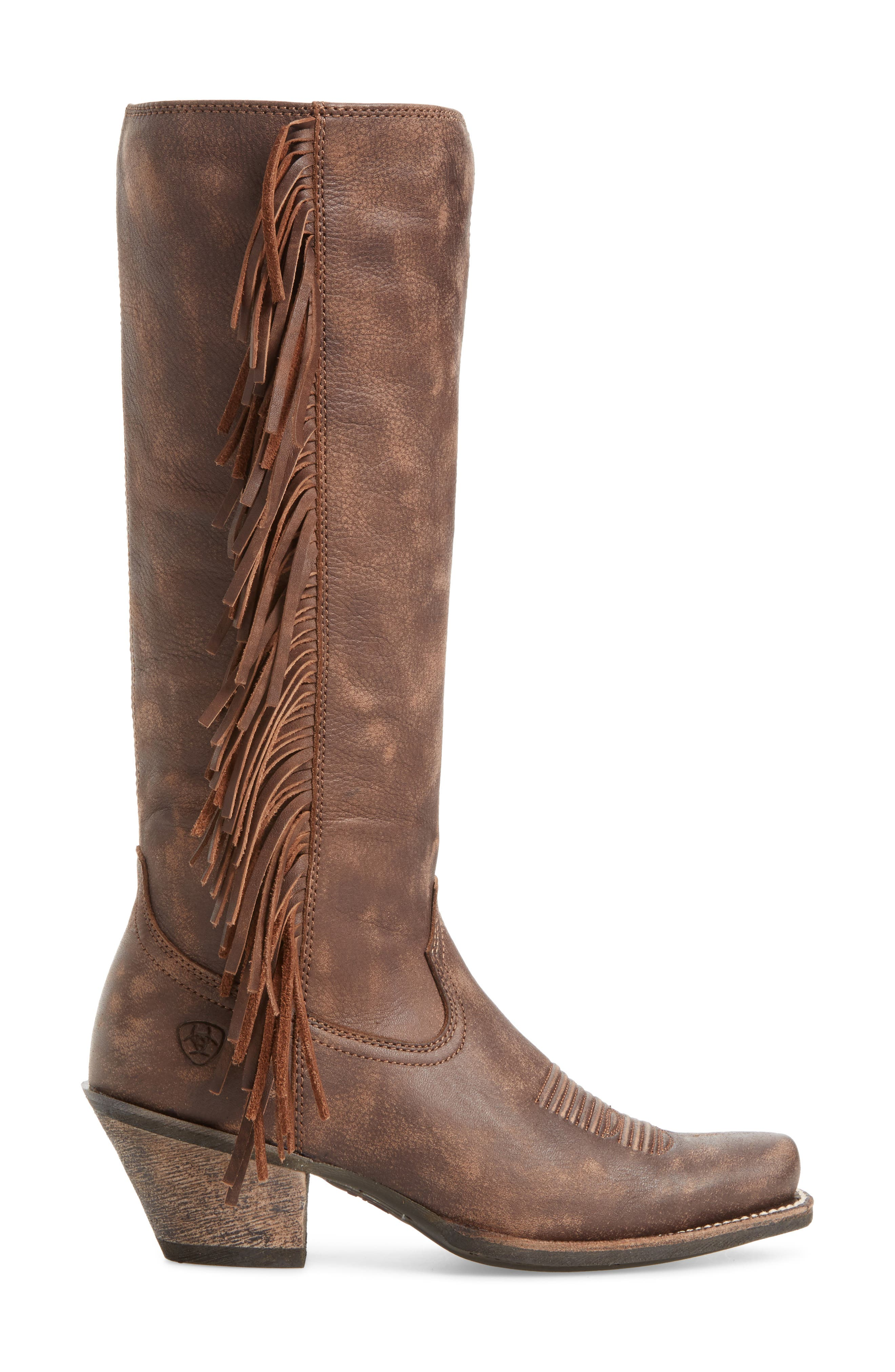 Leyton Fringe Western Boot,                             Alternate thumbnail 3, color,                             TACK ROOM CHOCOLATE LEATHER
