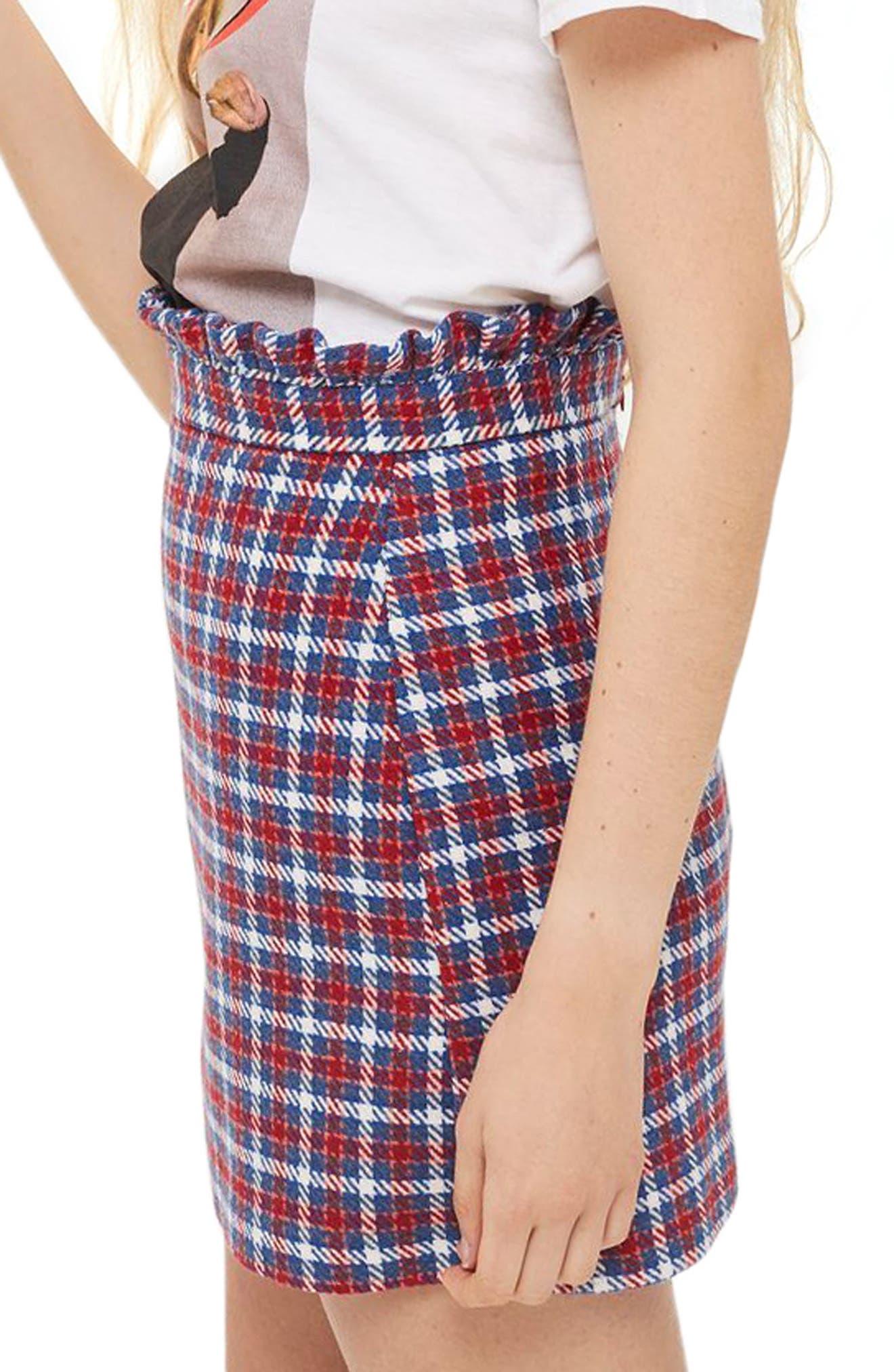 Check Frill Waist Miniskirt,                             Main thumbnail 1, color,                             400