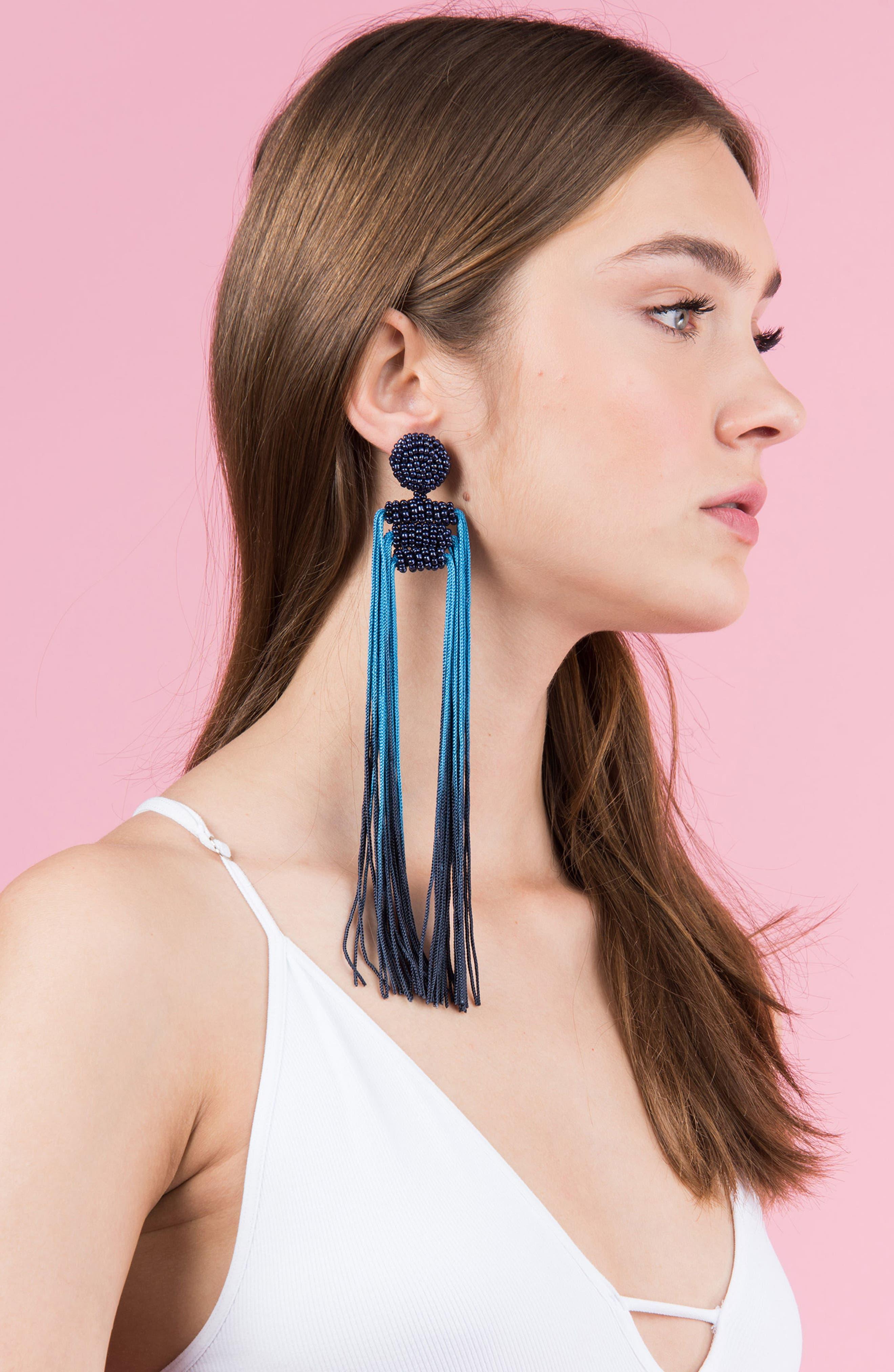 Tropicana Long Tassel Earrings,                             Alternate thumbnail 26, color,