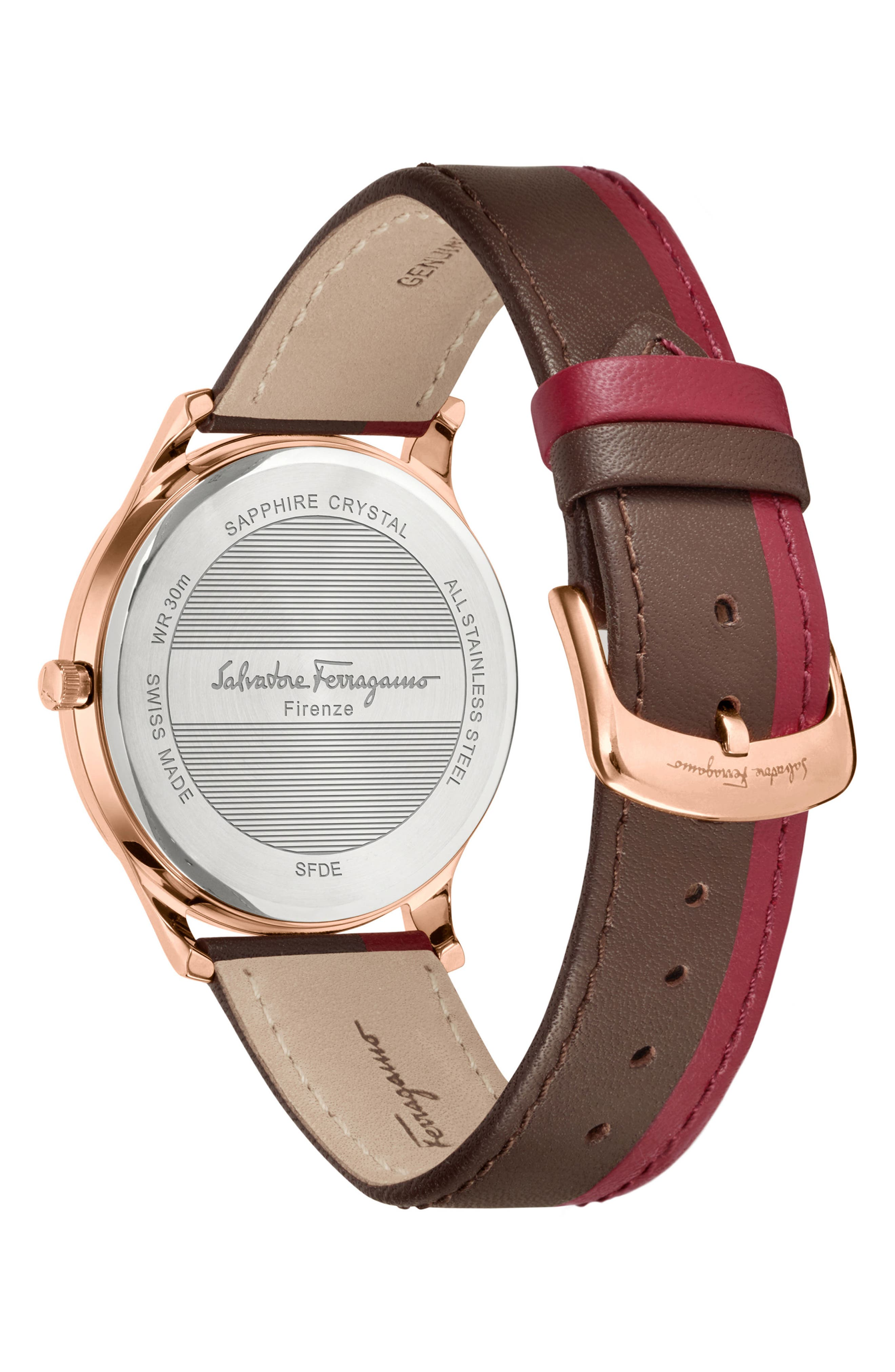 Slim Formal Leather Strap Watch, 40mm,                             Alternate thumbnail 2, color,                             RED/ BROWN/ GOLD