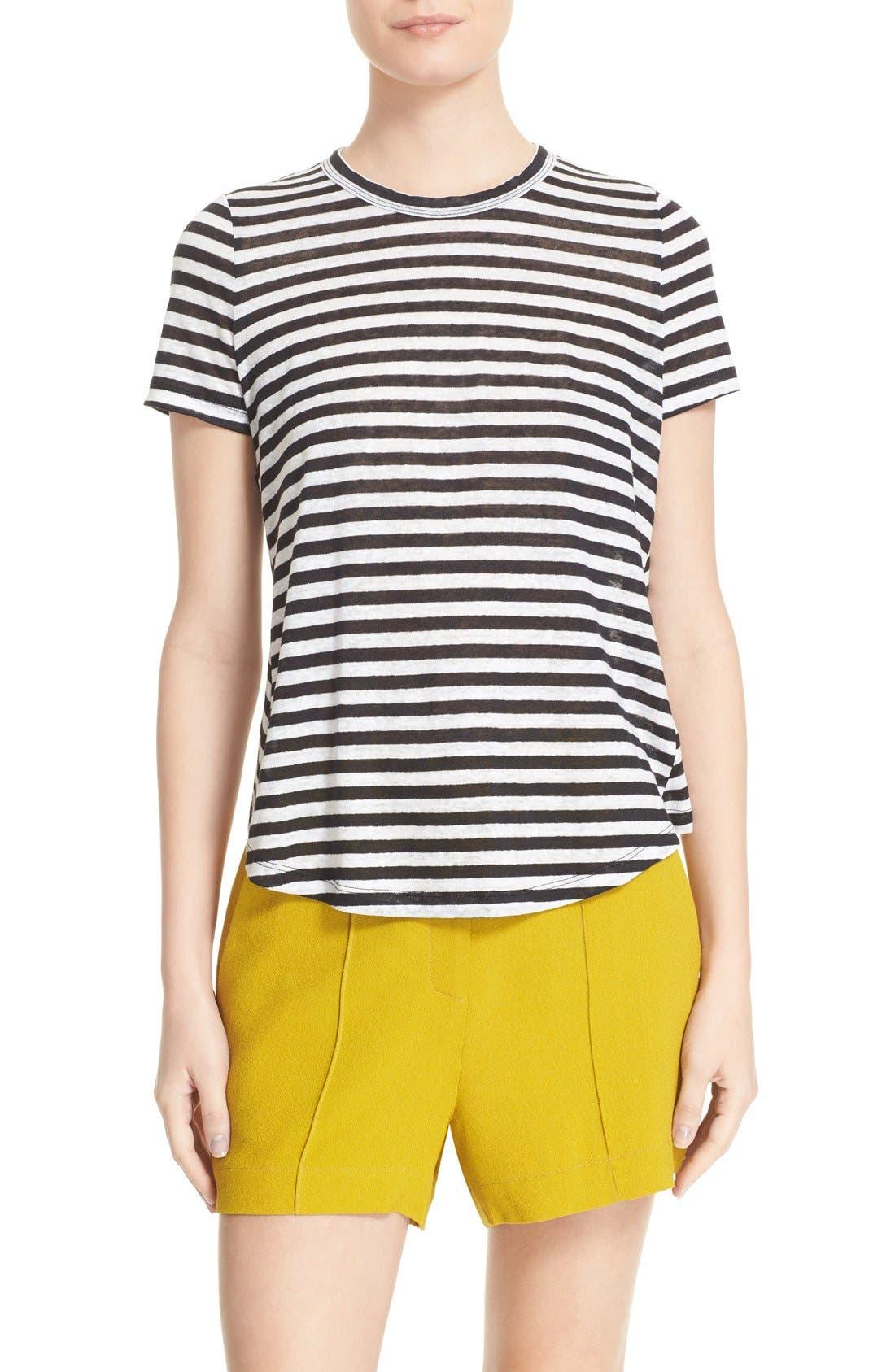 Tesi Stripe Linen Tee,                         Main,                         color, 193