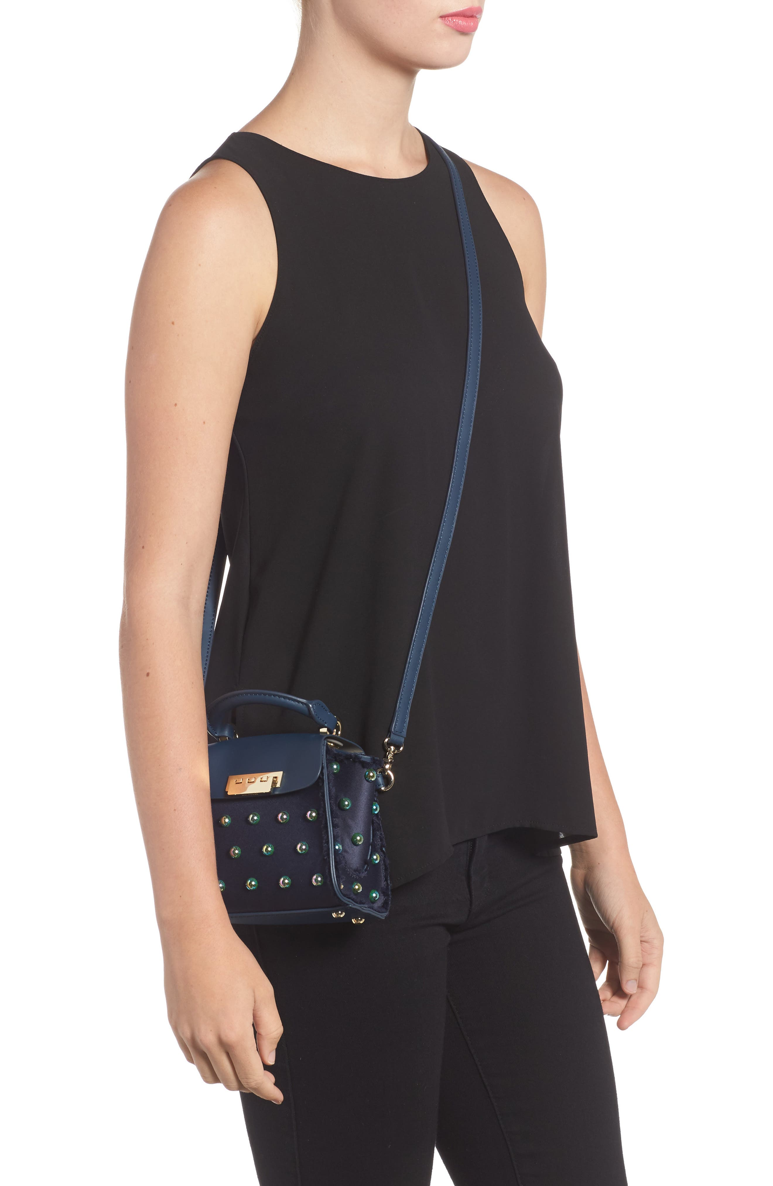 Mini Eartha Embellished Top Handle Calfskin Leather Satchel,                             Alternate thumbnail 2, color,                             403