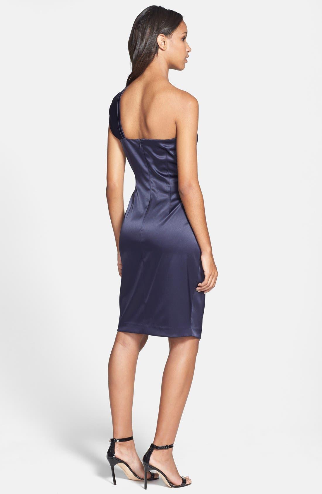 Beaded One-Shoulder Satin Dress,                             Alternate thumbnail 9, color,