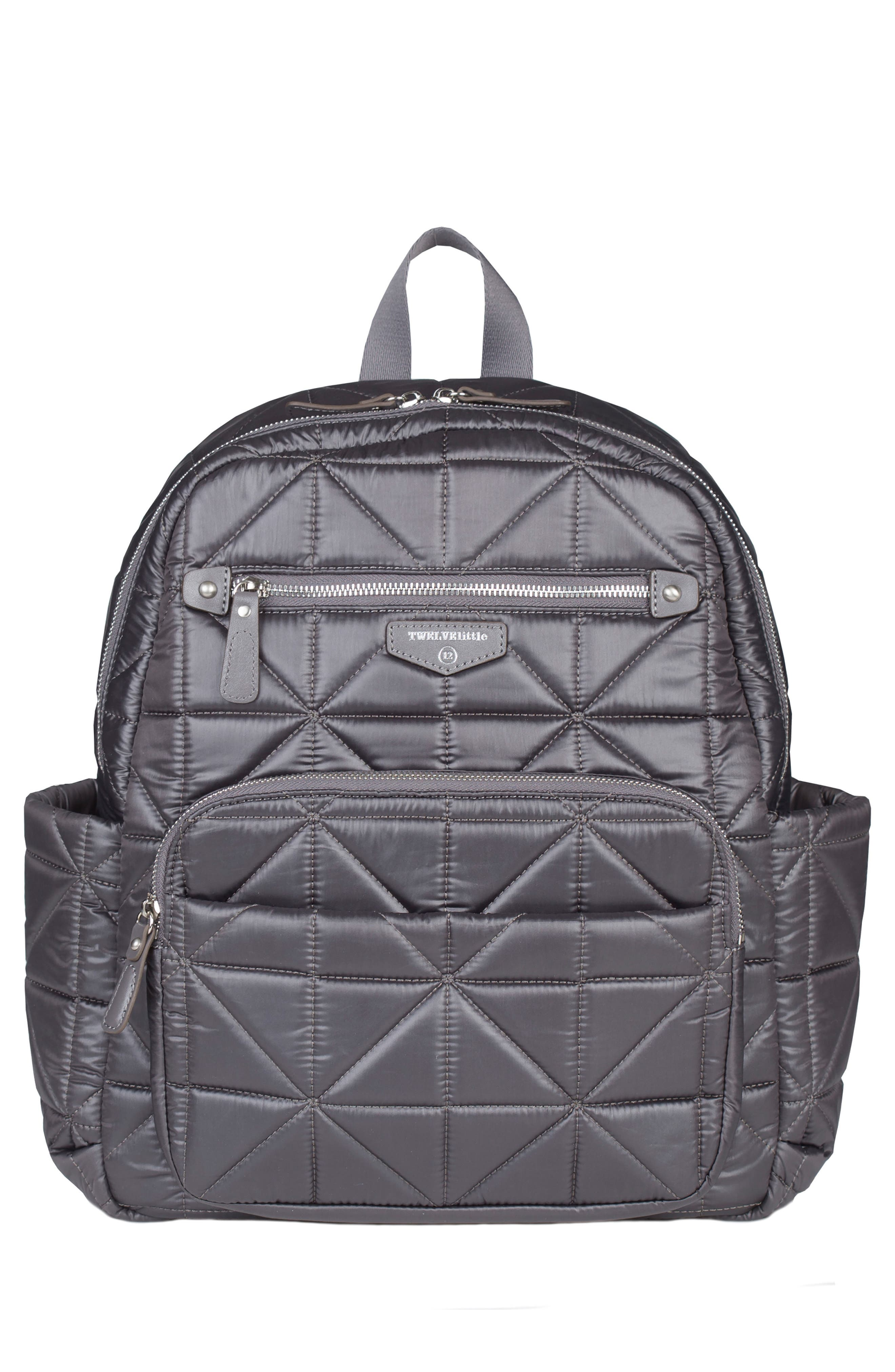 Companion Quilted Nylon Diaper Backpack,                         Main,                         color, PLATINUM