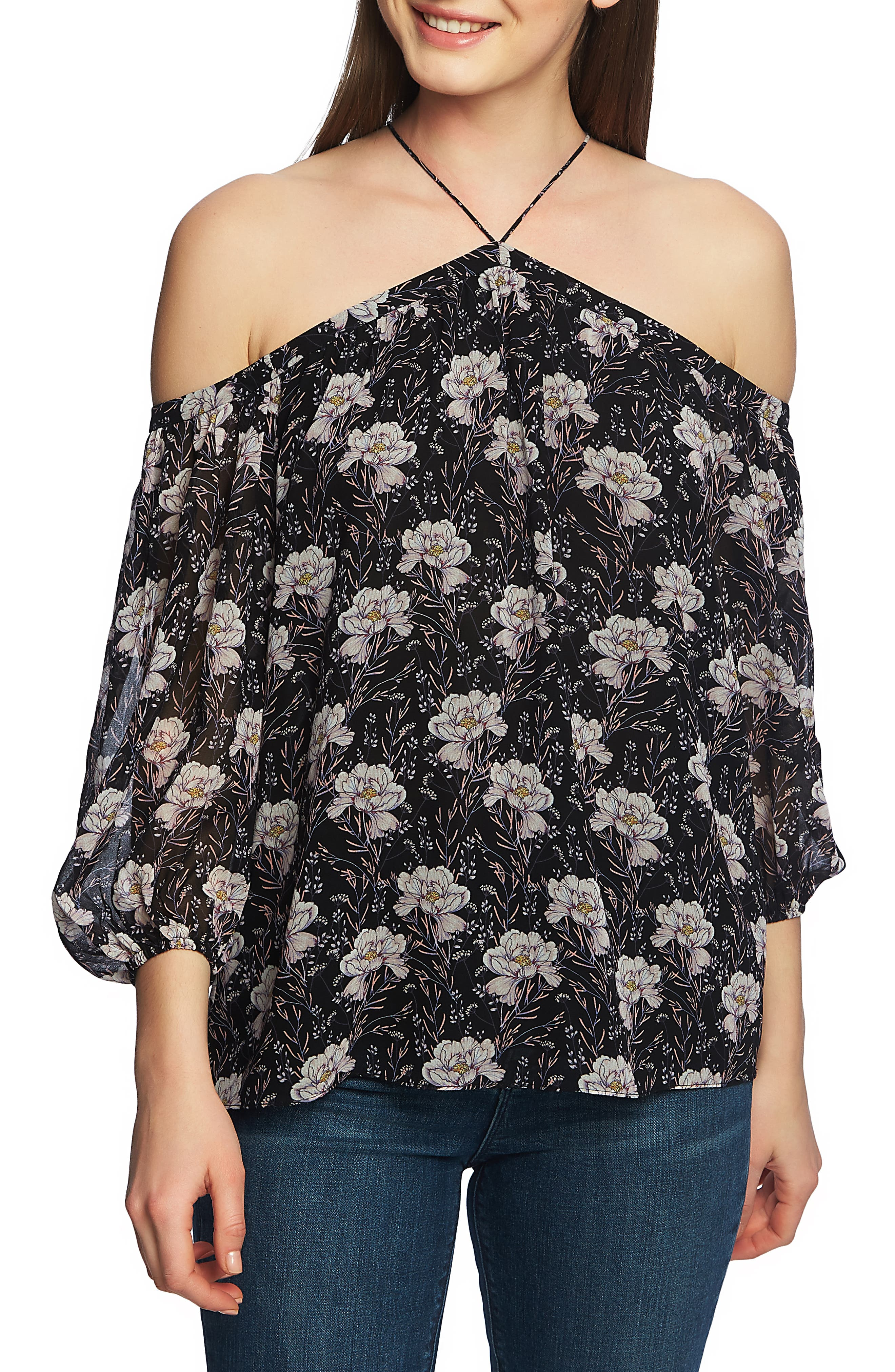 1.STATE,                             Off the Shoulder Sheer Chiffon Blouse,                             Main thumbnail 1, color,                             BLOOMSBURY FLORAL BLACK