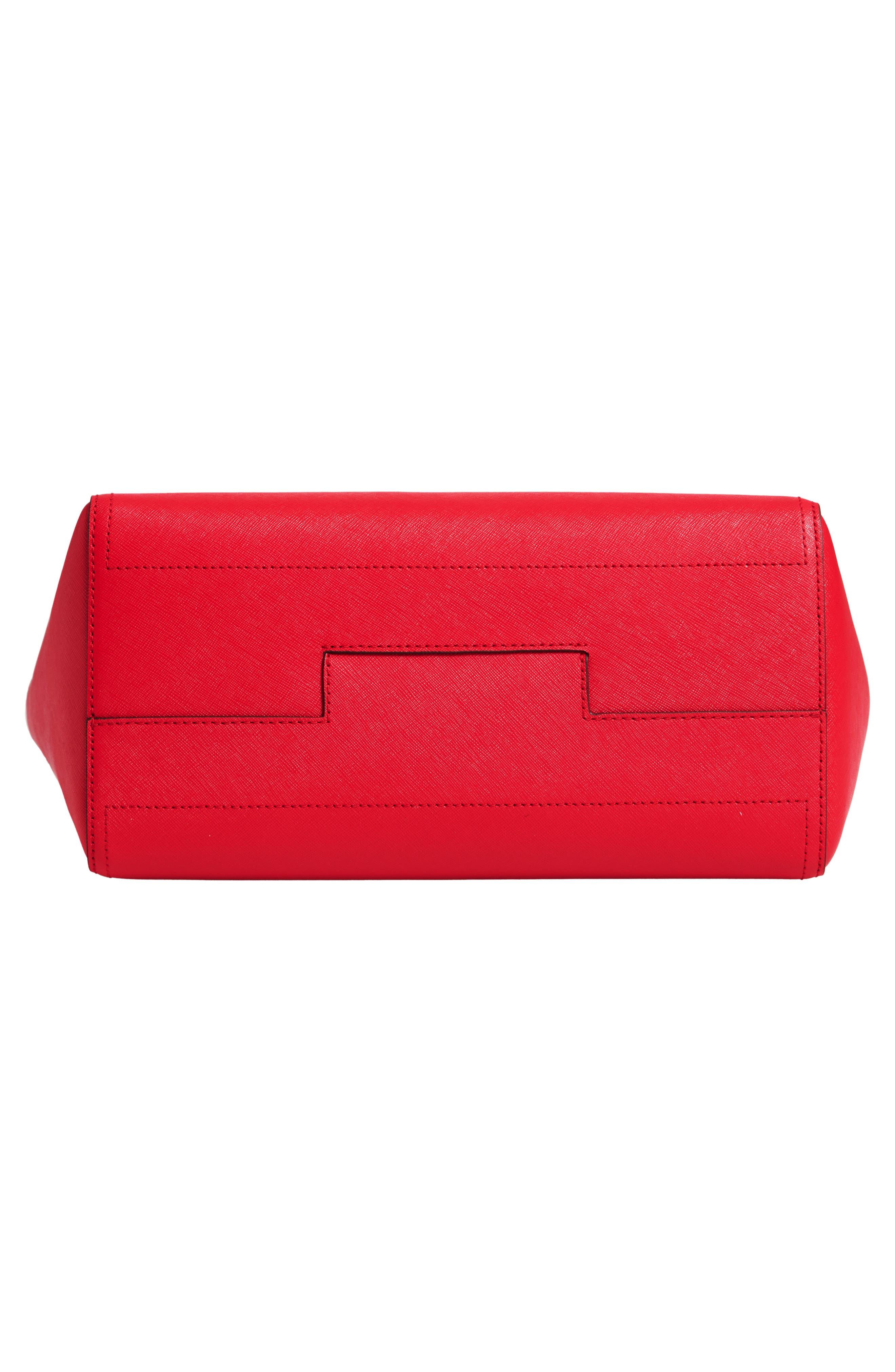 Small Robinson Leather Tote,                             Alternate thumbnail 6, color,                             BRILLIANT RED
