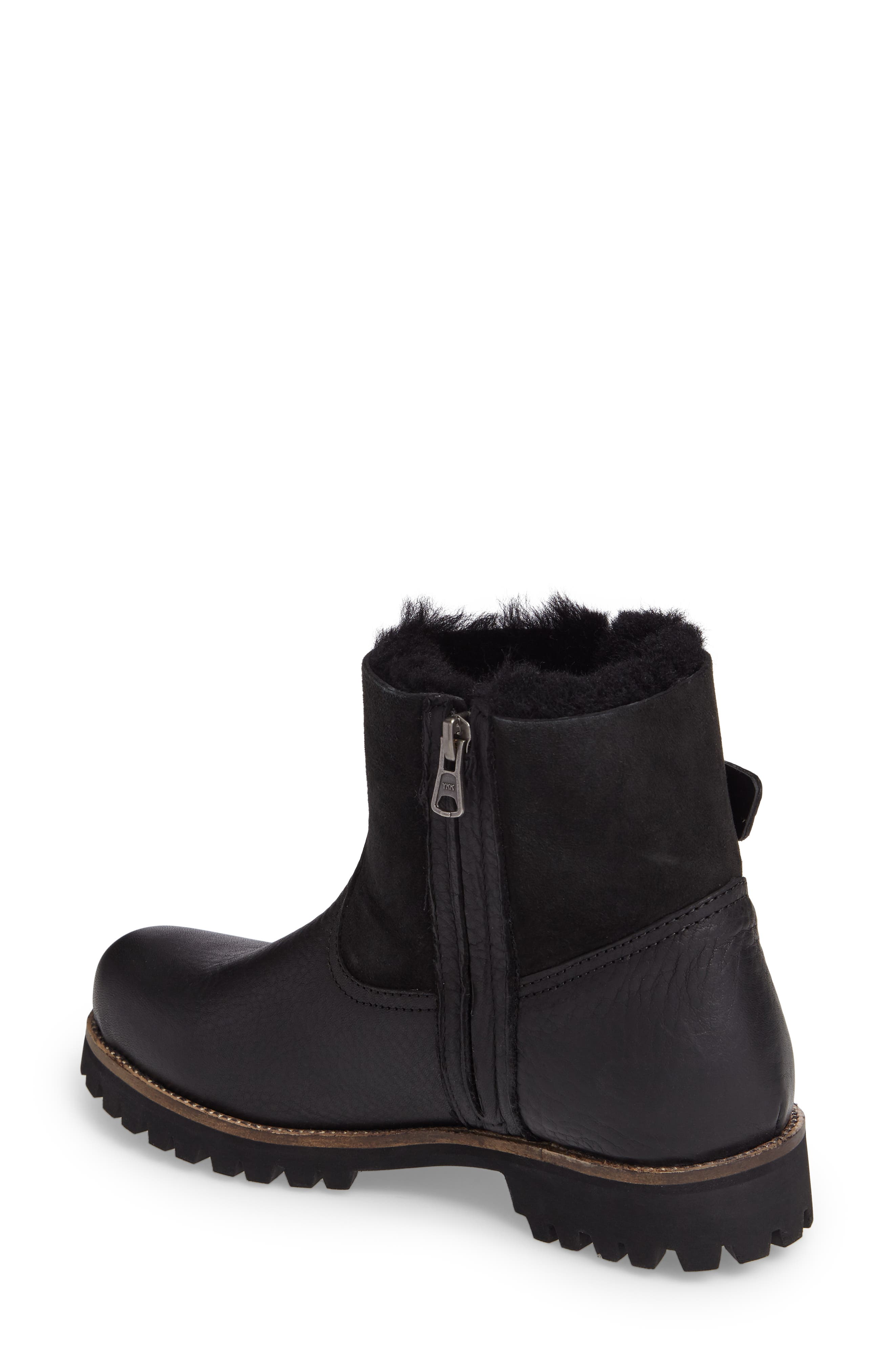 OL06 Genuine Shearling Lined Bootie,                             Alternate thumbnail 2, color,                             BLACK LEATHER