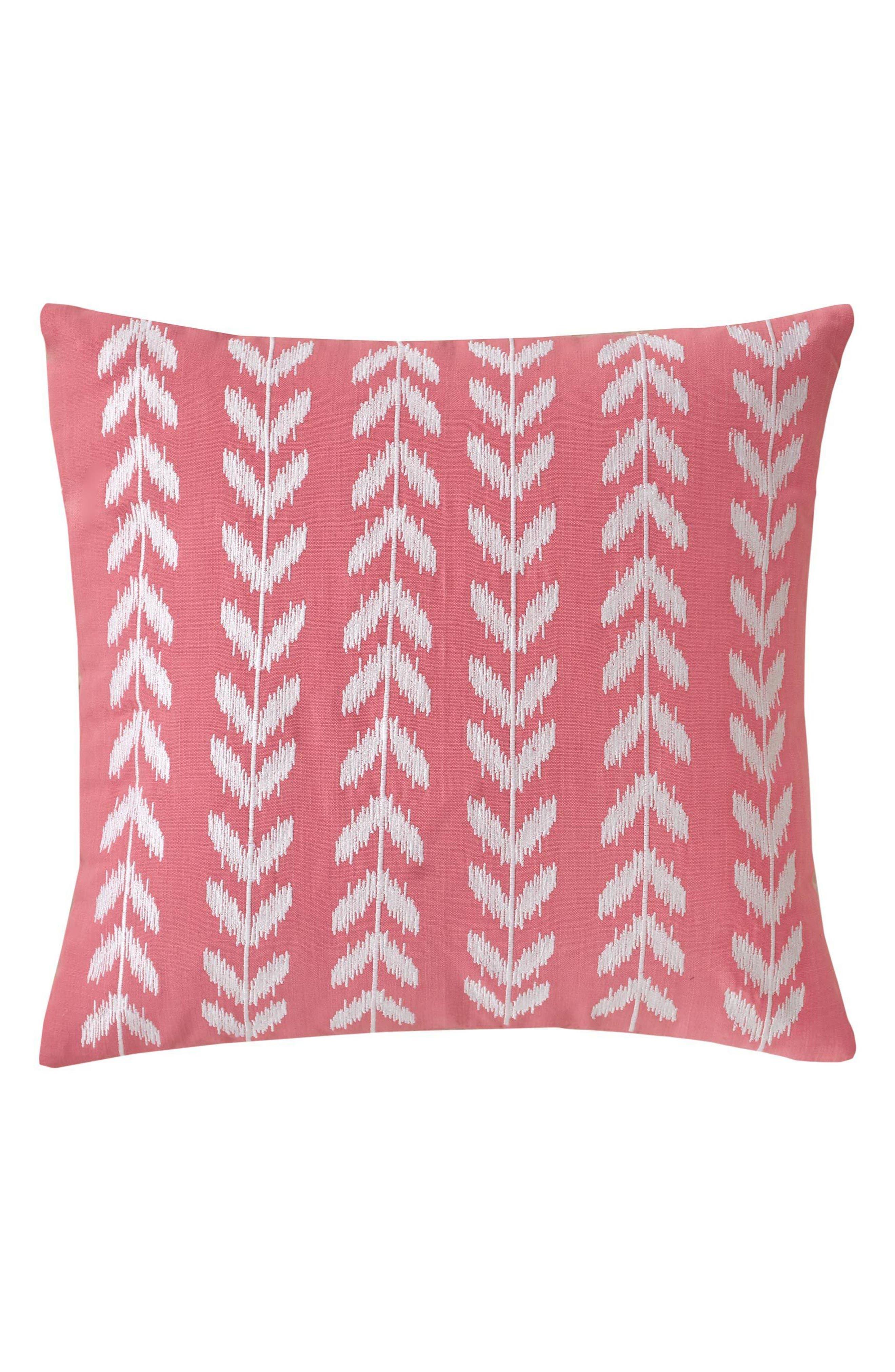 Coastal Ikat Heart Deco Accent Pillow,                         Main,                         color, SUGAR CORAL