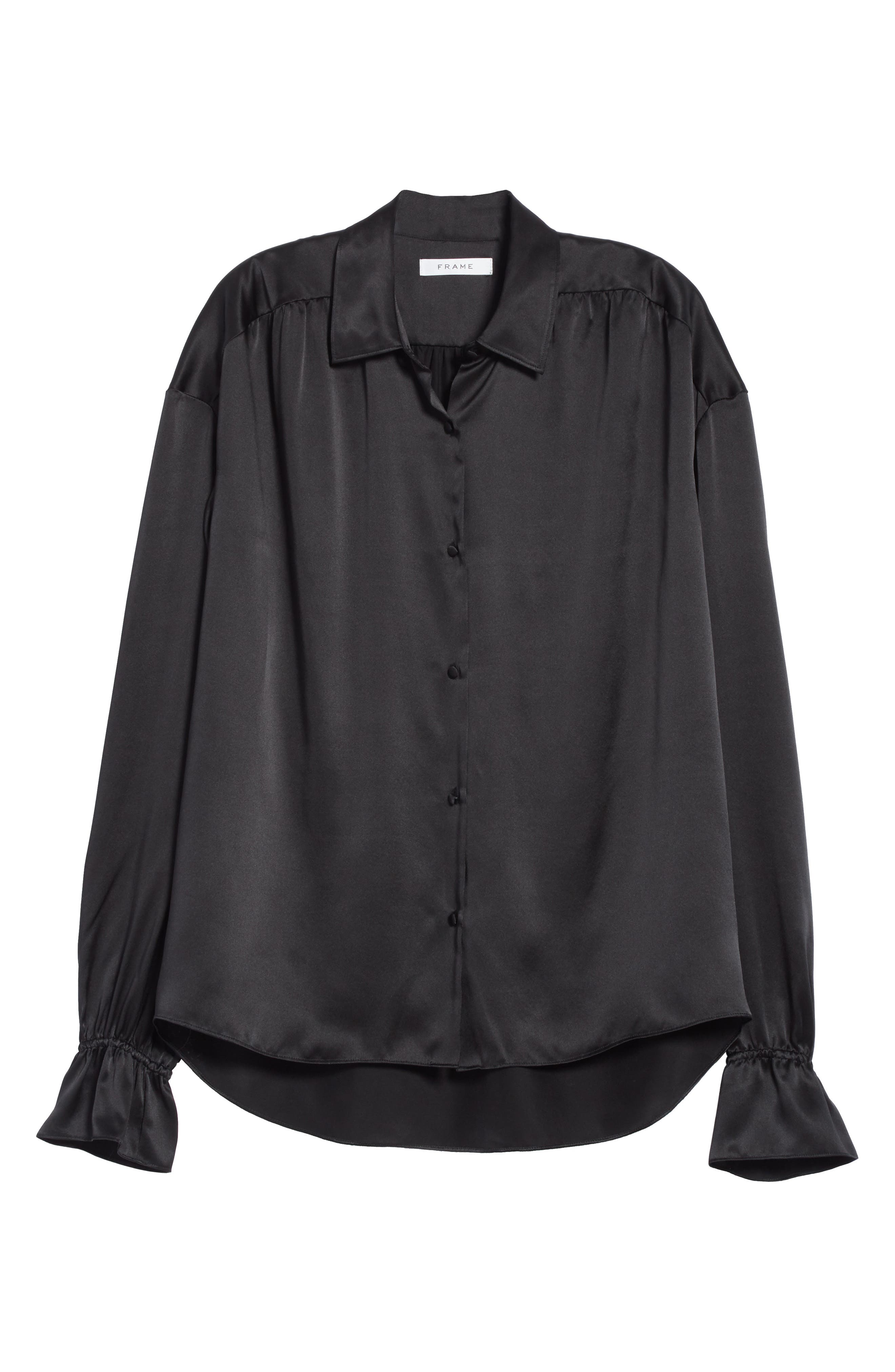 Flare Cuff Solid Silk Shirt,                             Alternate thumbnail 6, color,                             001