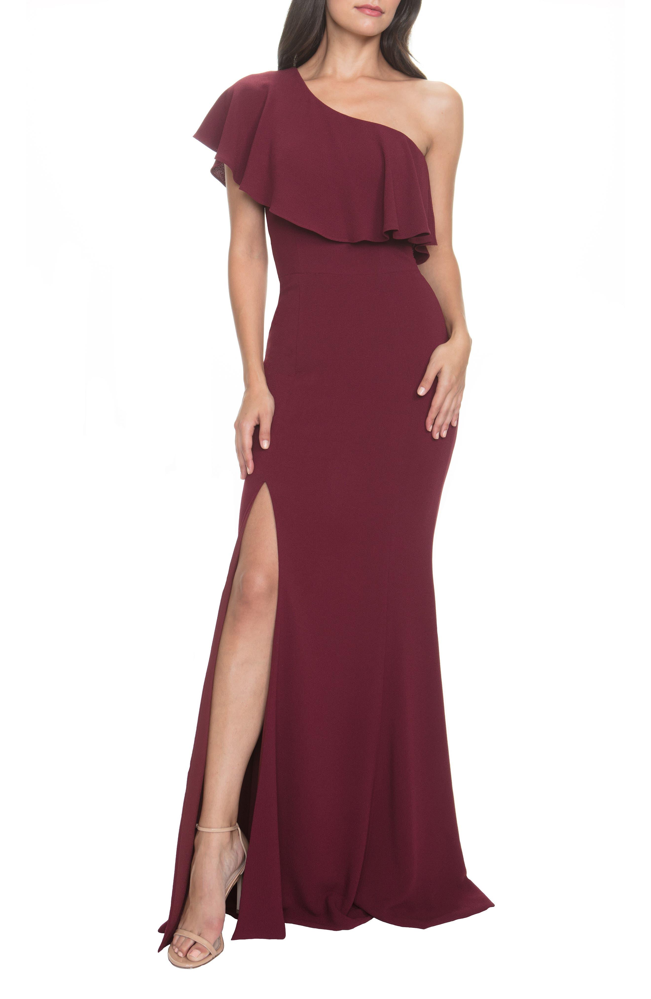 Dress The Population Frida One-Shoulder Crepe Gown, Burgundy