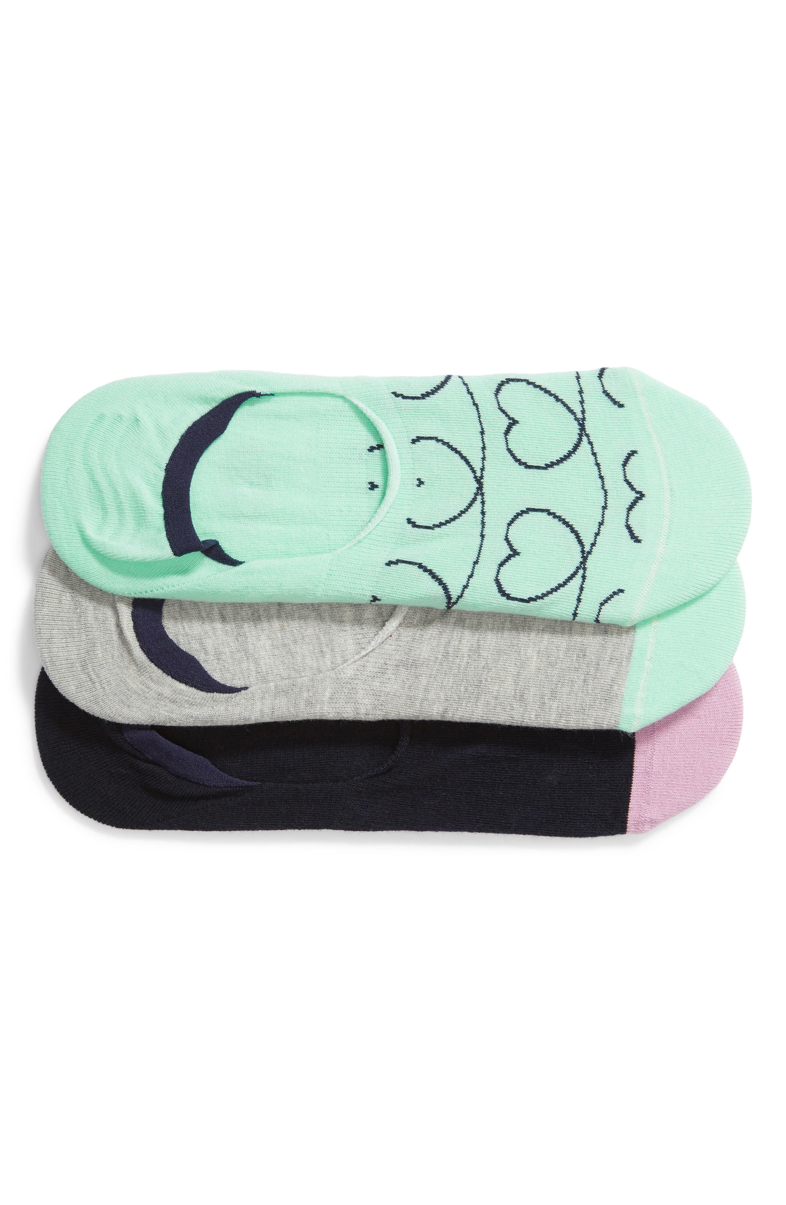 Loveline 3-Pack Liner Socks, Main, color, GREEN