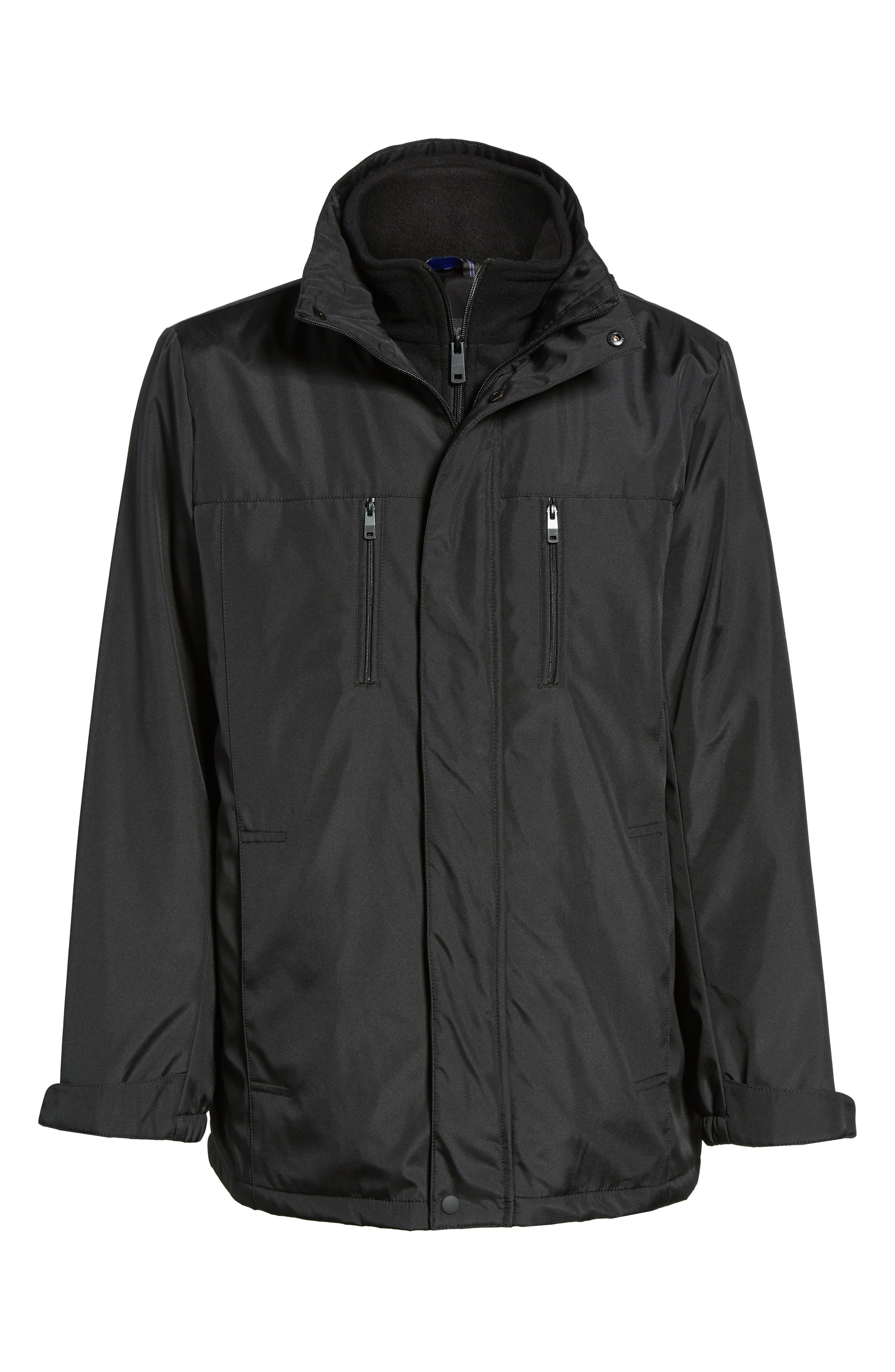 Hooded Jacket with Inset Fleece Bib,                             Alternate thumbnail 5, color,                             001