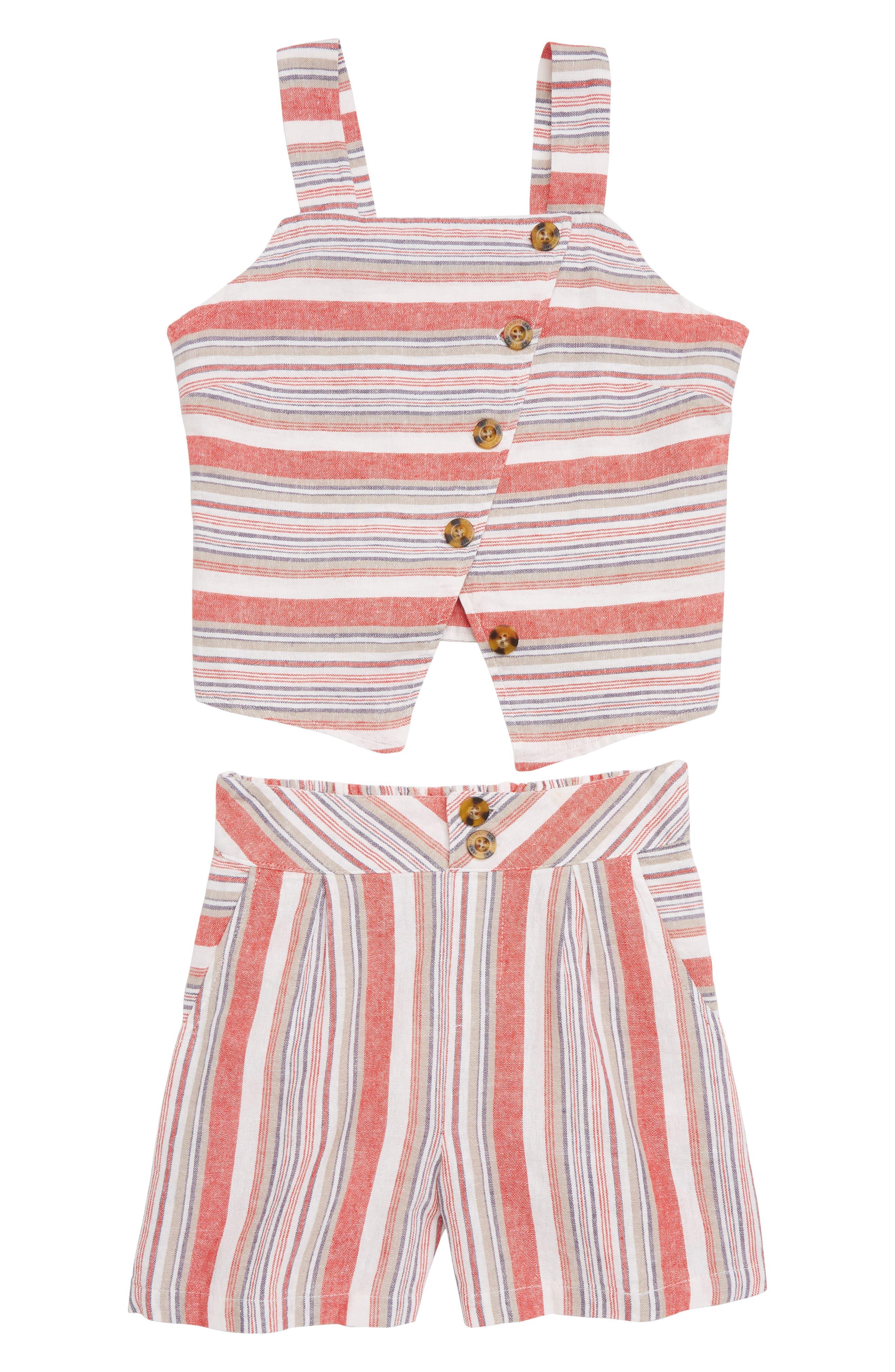 Girls Habitual Girl Ginger Mock Vest  Shorts Set