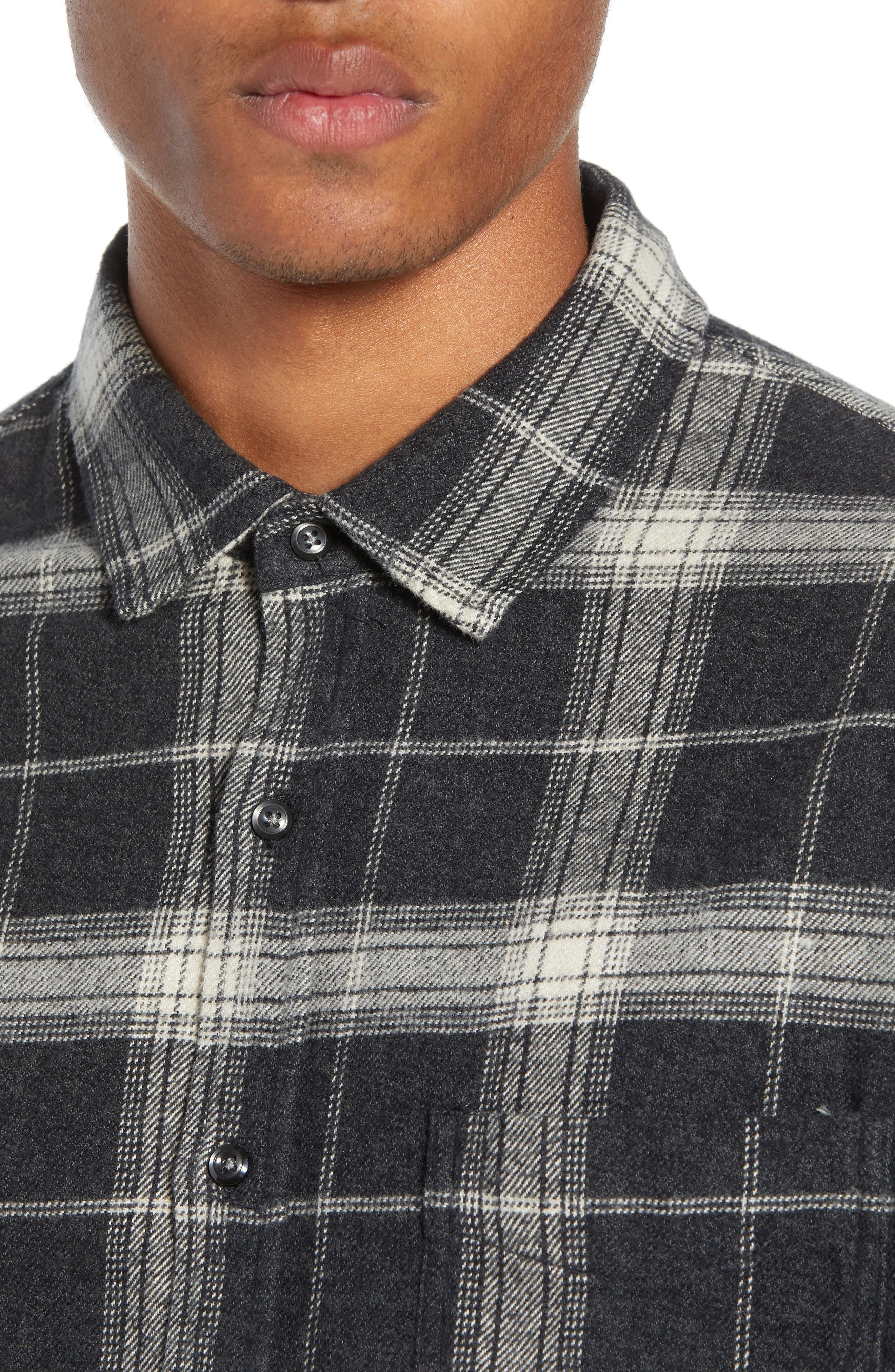 Forrest Regular Fit Plaid Flannel Sport Shirt,                             Alternate thumbnail 2, color,                             COAL/ IVORY