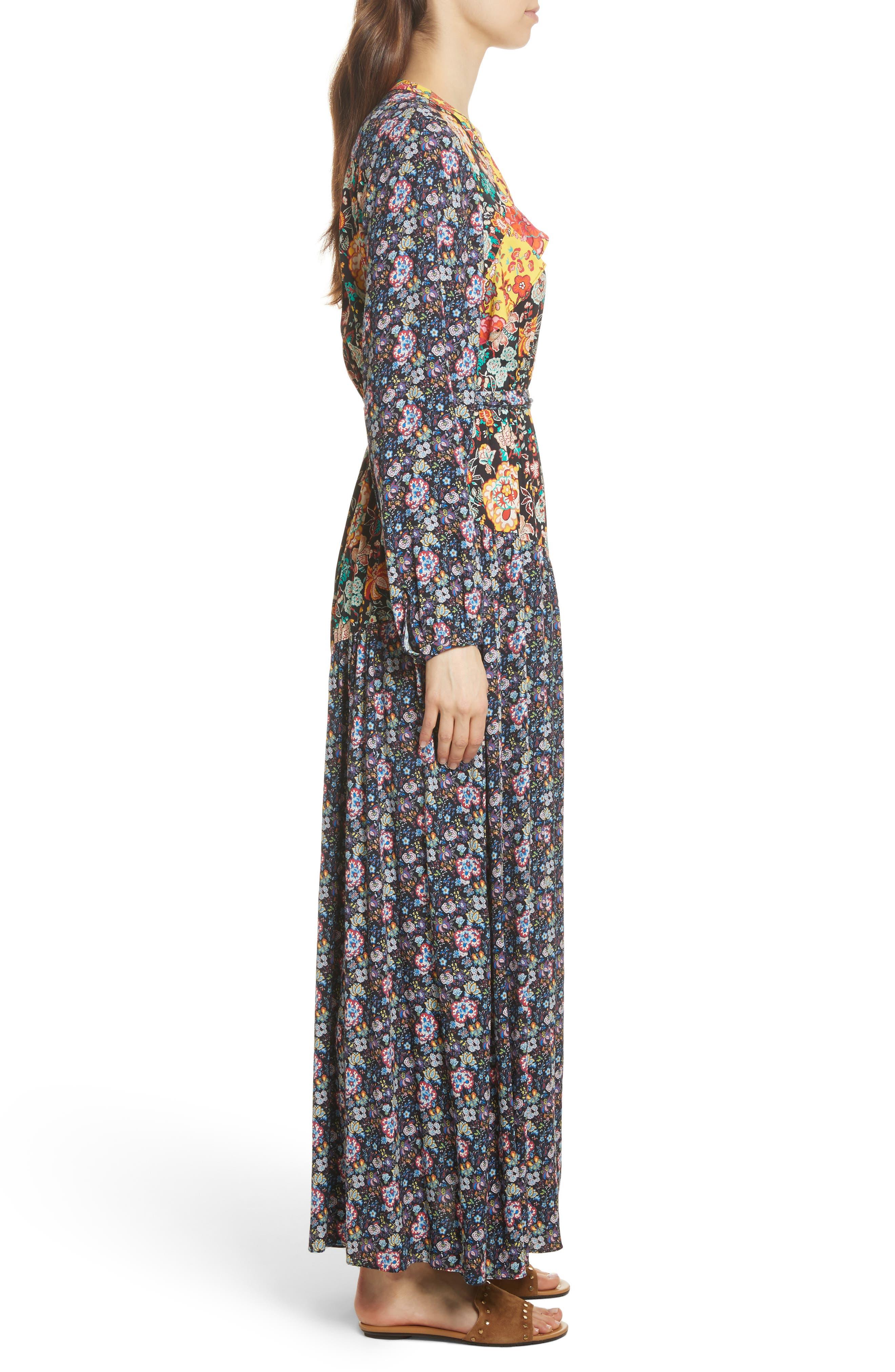Mixed Floral Wrap Dress,                             Alternate thumbnail 3, color,