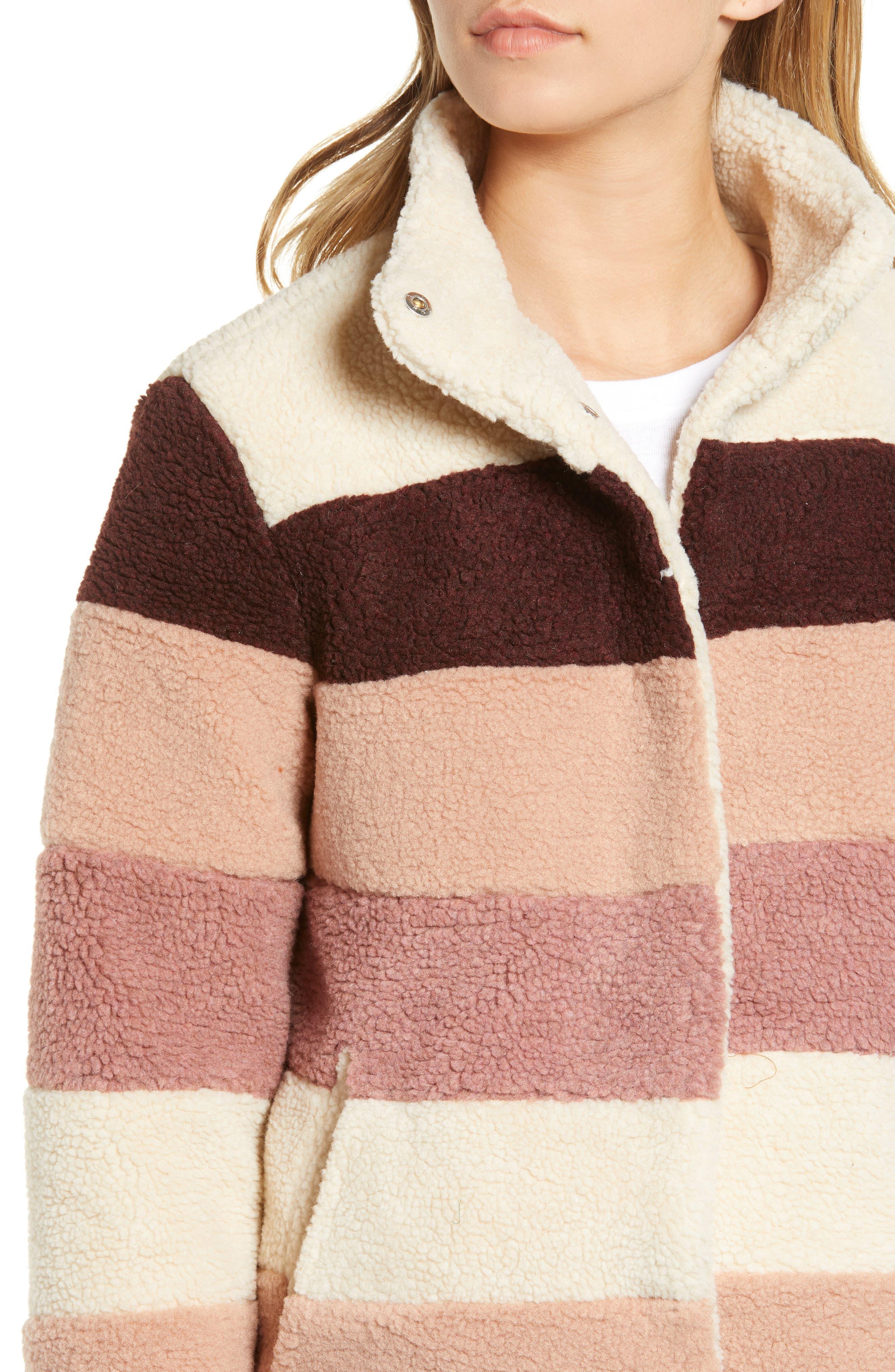 Stripe Faux Shearling Jacket,                             Alternate thumbnail 4, color,                             IVORY EGRET MUTLI STRIPE