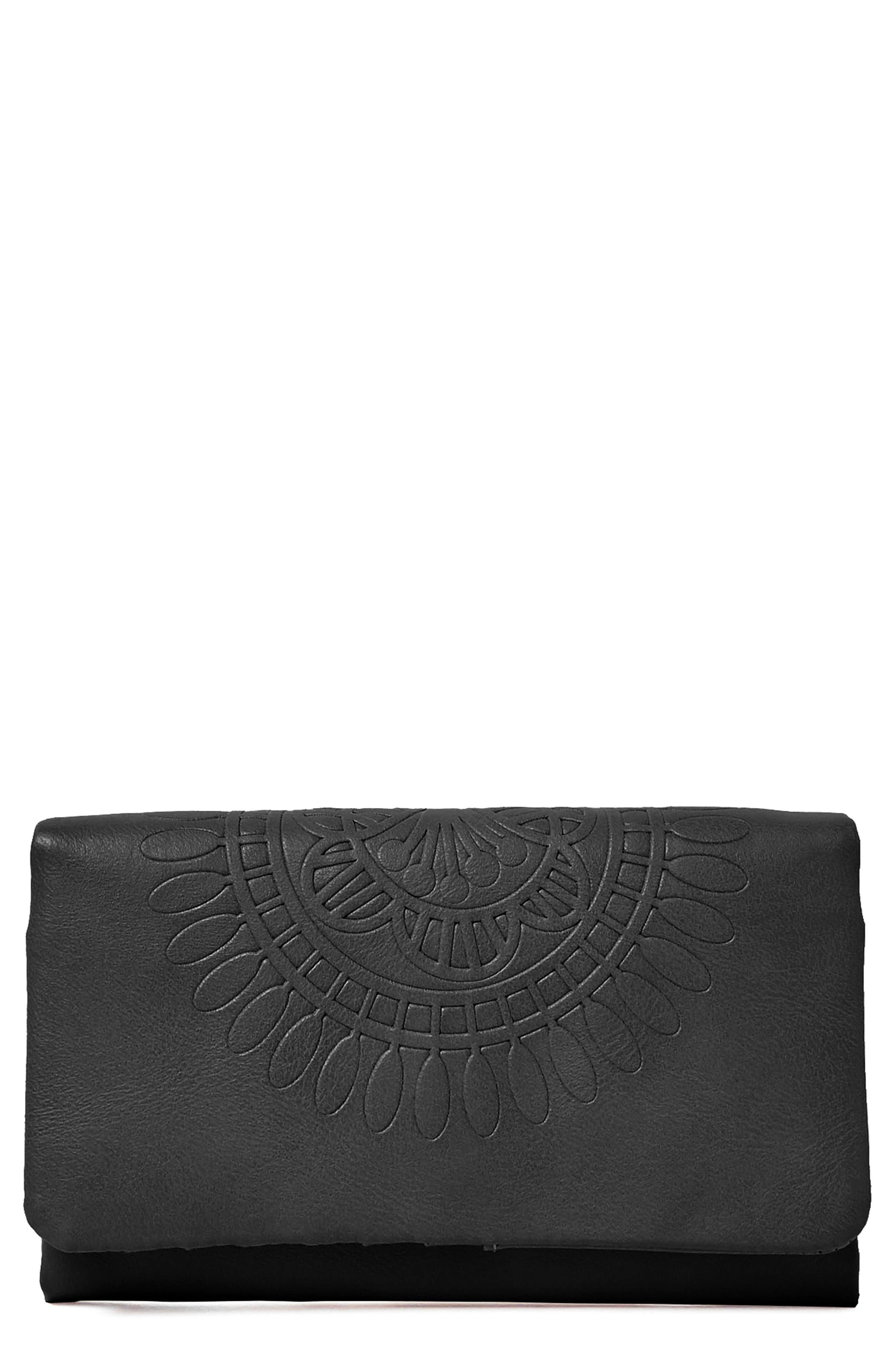 Flower Gypsy Vegan Leather Wallet,                         Main,                         color, 001