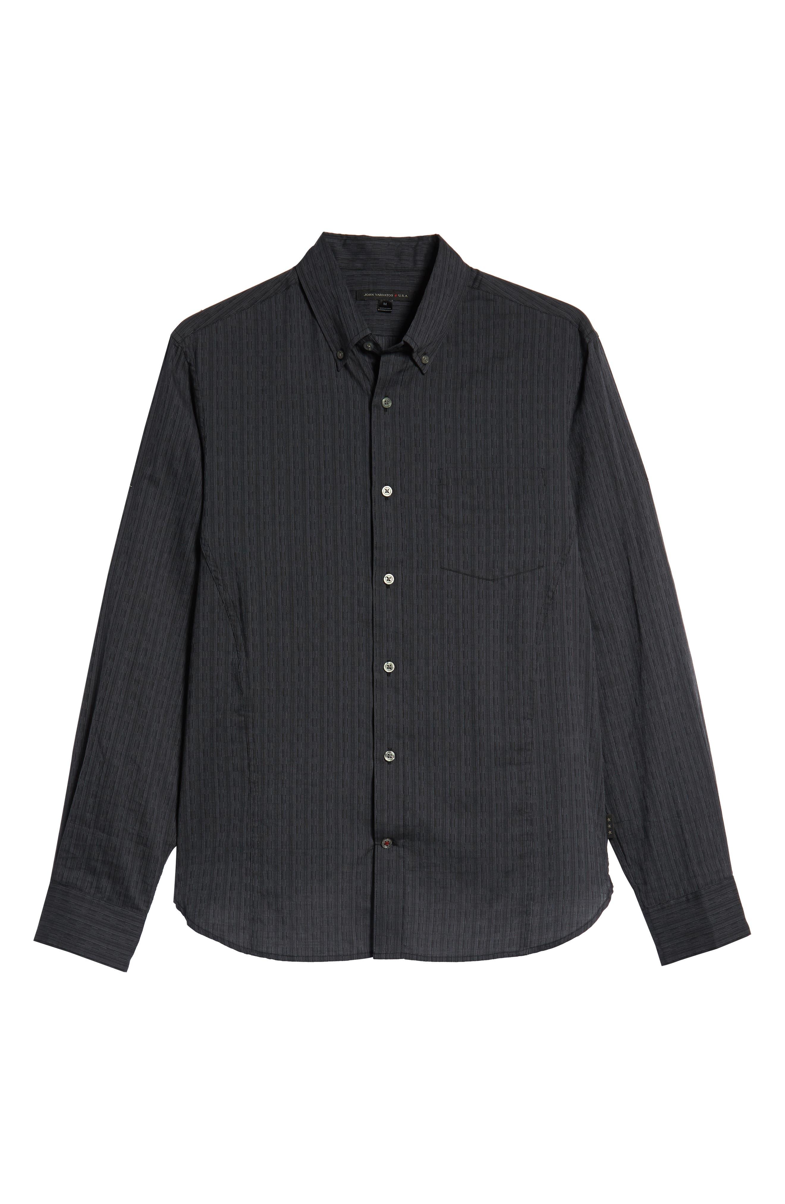 Regular Fit Roll Sleeve Sport Shirt,                             Alternate thumbnail 5, color,                             BLACK