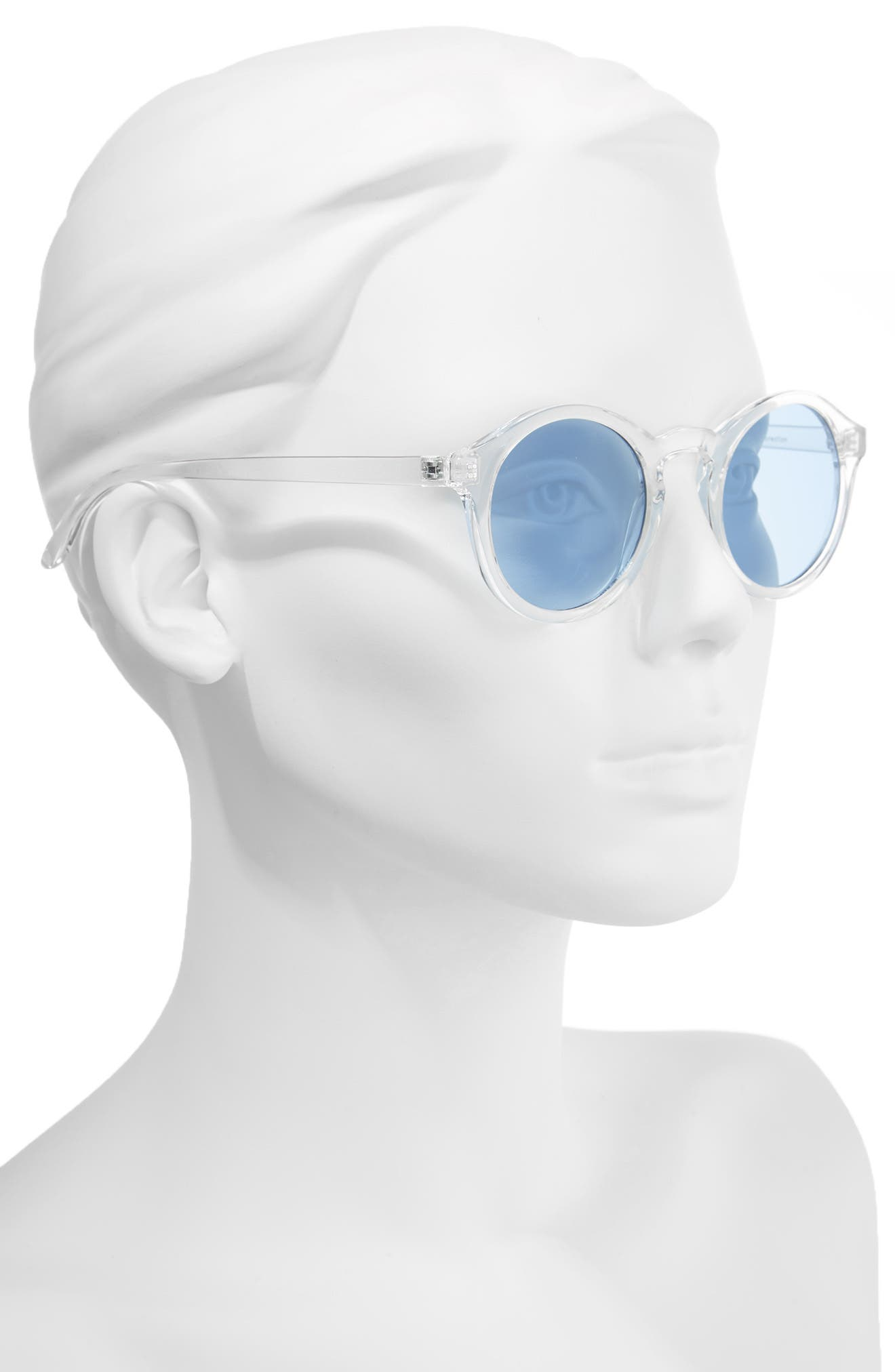 45mm Clear Plastic Small Round Sunglasses,                             Alternate thumbnail 2, color,                             100