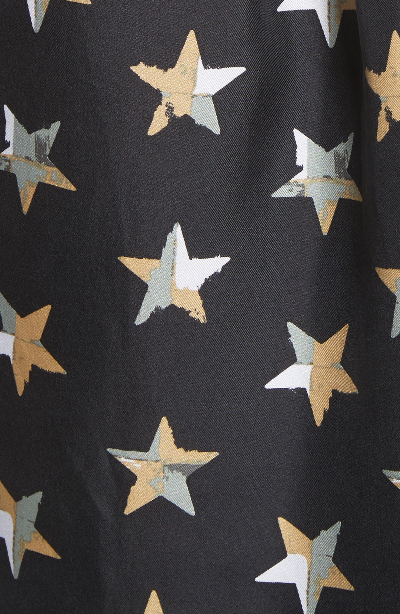 Rossi Button Detail Star Print Silk Shirt,                             Alternate thumbnail 5, color,                             006