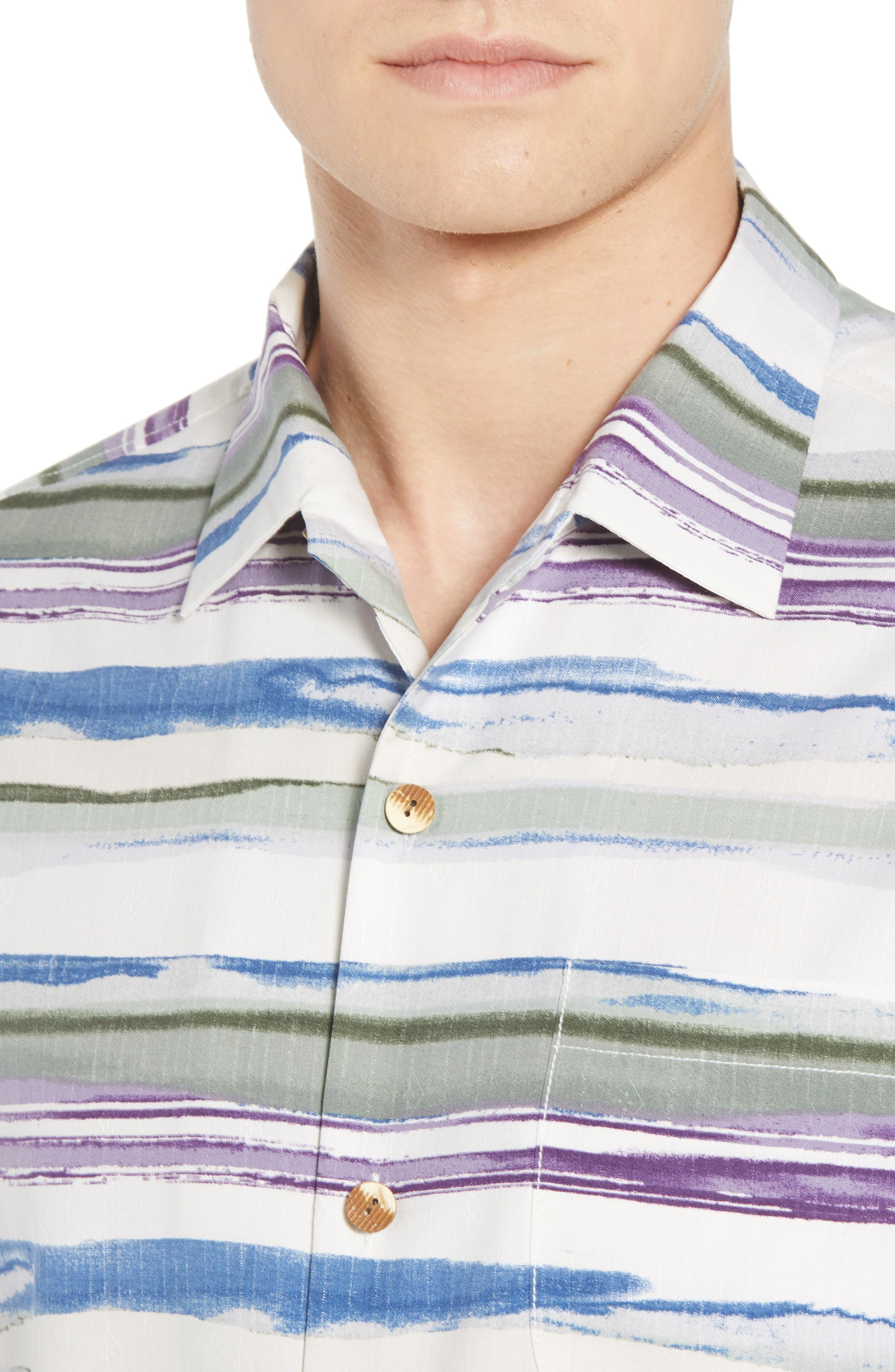 Hazy Horizons Silk Blend Camp Shirt,                             Alternate thumbnail 4, color,                             GRAND CANAL
