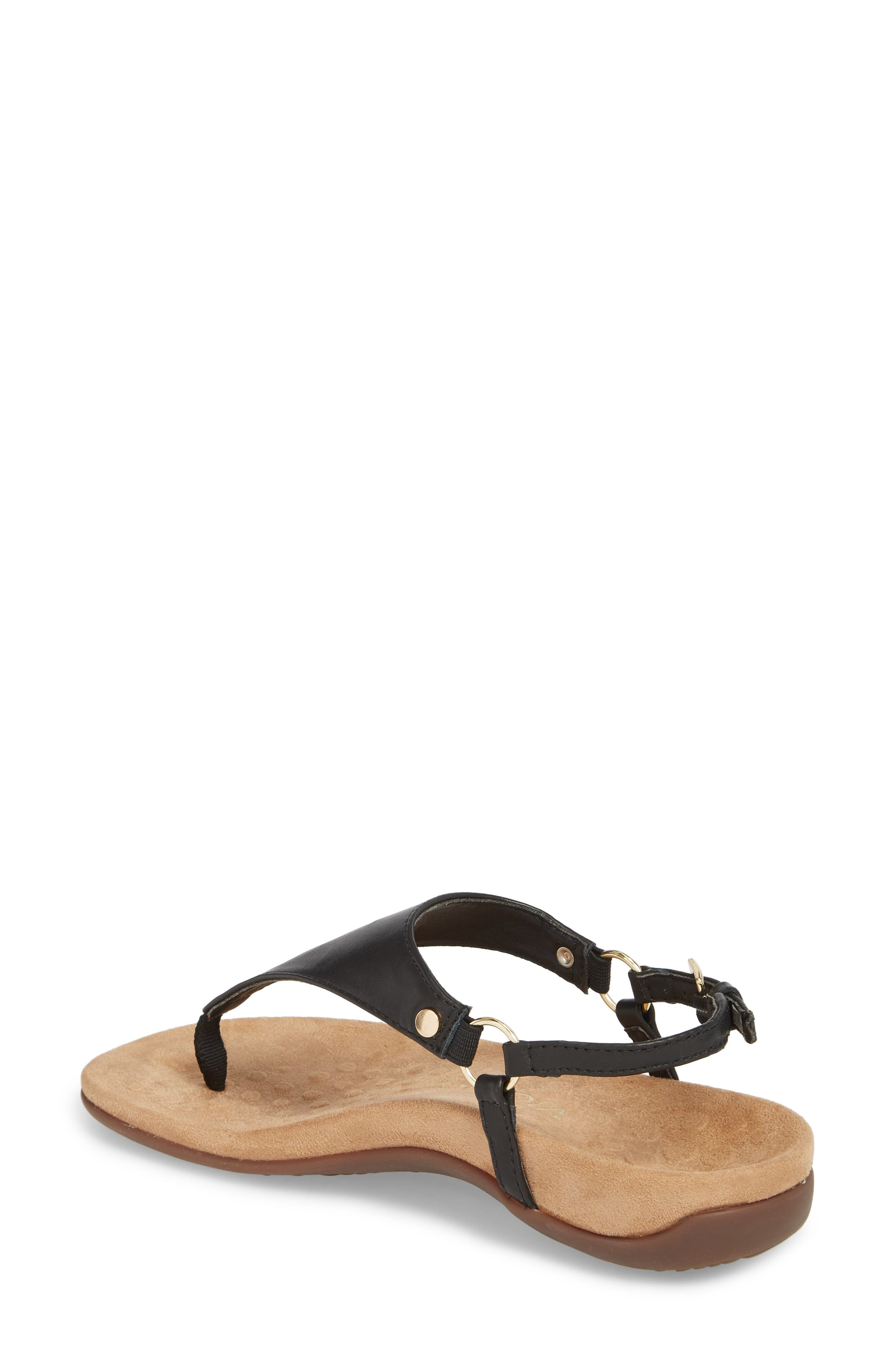 Kirra Orthaheel<sup>®</sup> Sandal,                             Alternate thumbnail 2, color,                             BLACK LEATHER