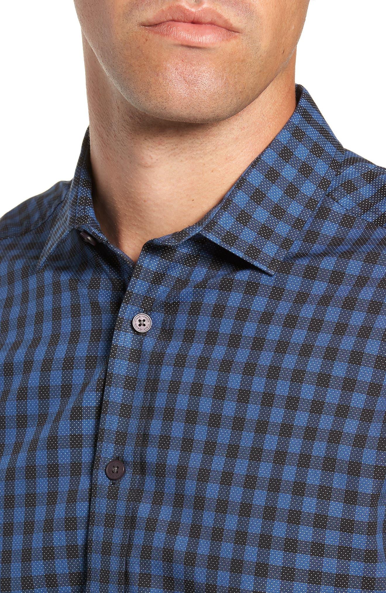 Long Sleeve Check & Dobby Sport Shirt,                             Alternate thumbnail 2, color,                             BLUE BLACK CHECK WHITE DOBBY
