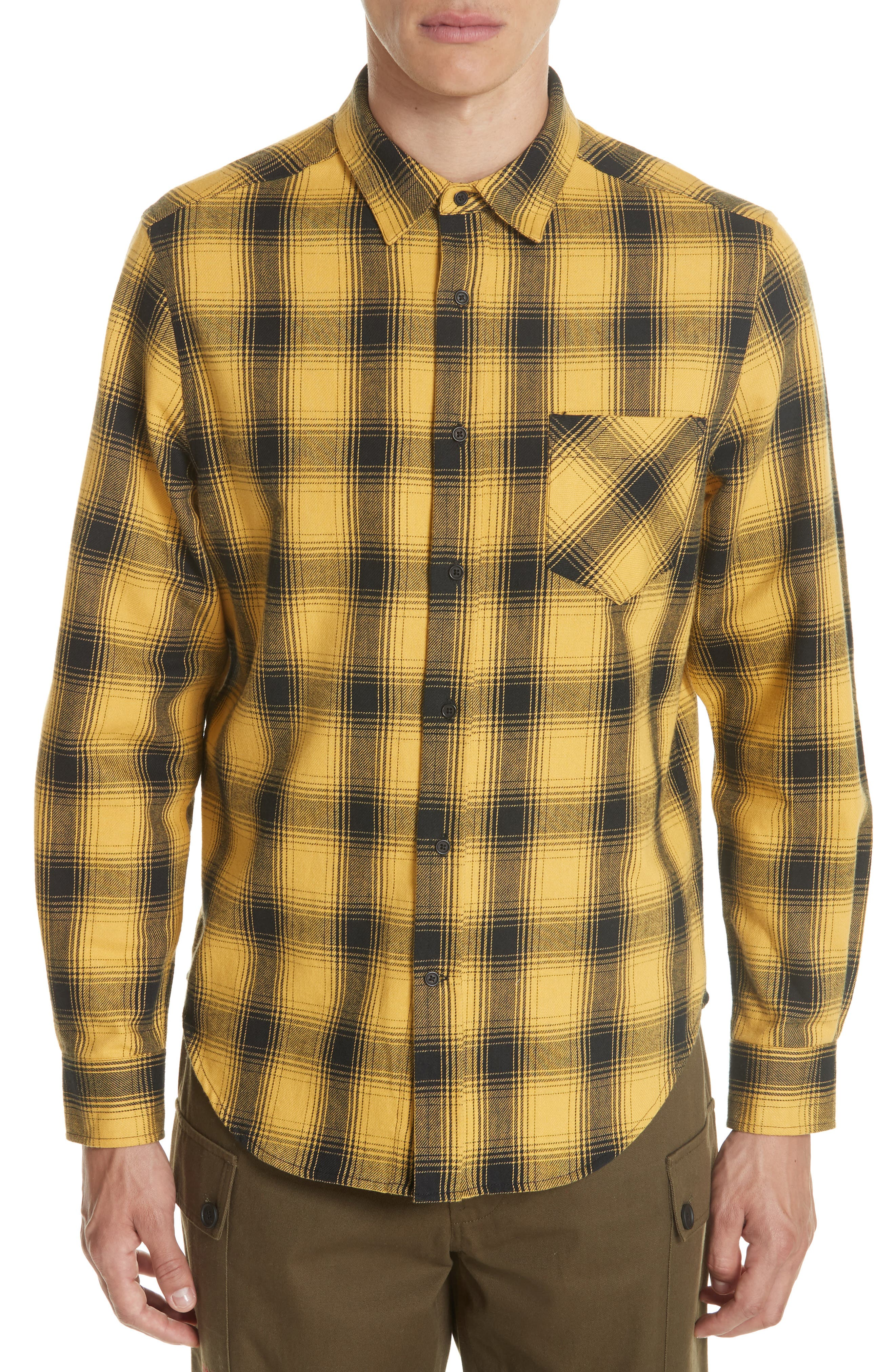 Max Plaid Flannel Shirt,                         Main,                         color, GOLD PLAID