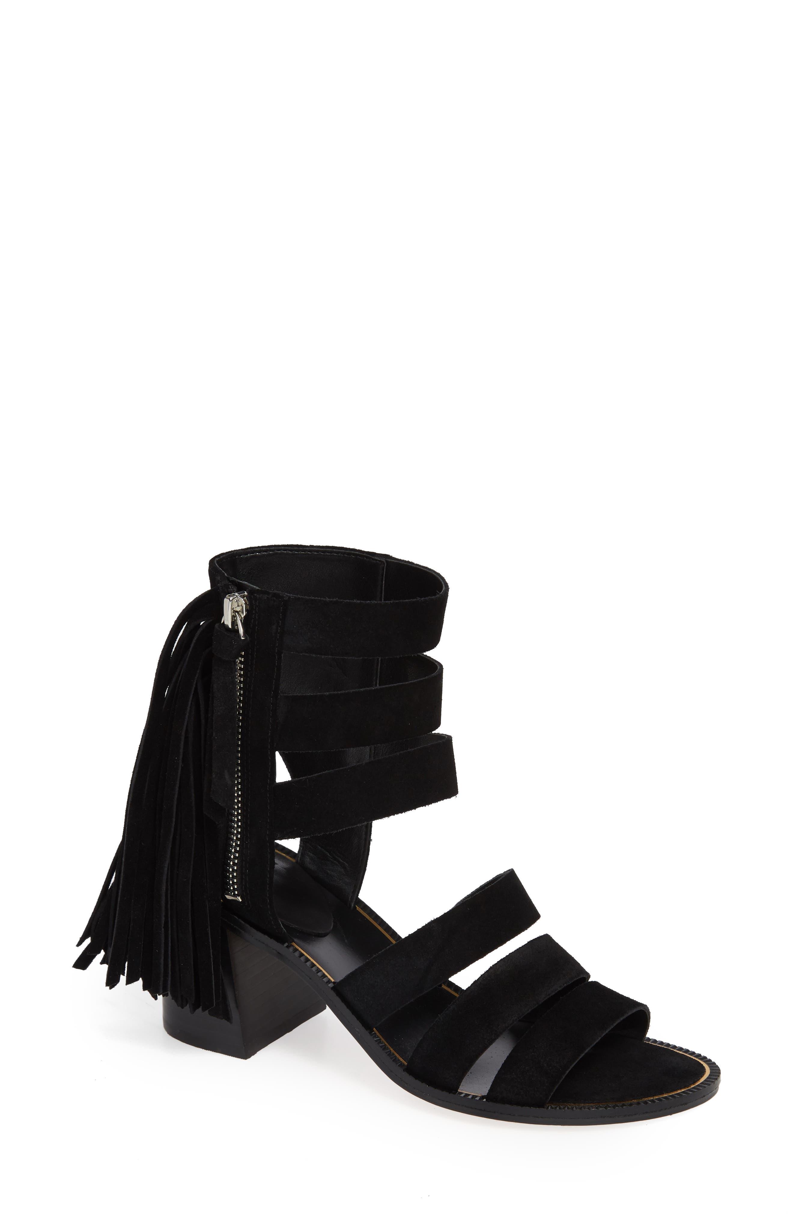 Collin Fringe Sandal,                             Main thumbnail 1, color,                             BLACK SUEDE