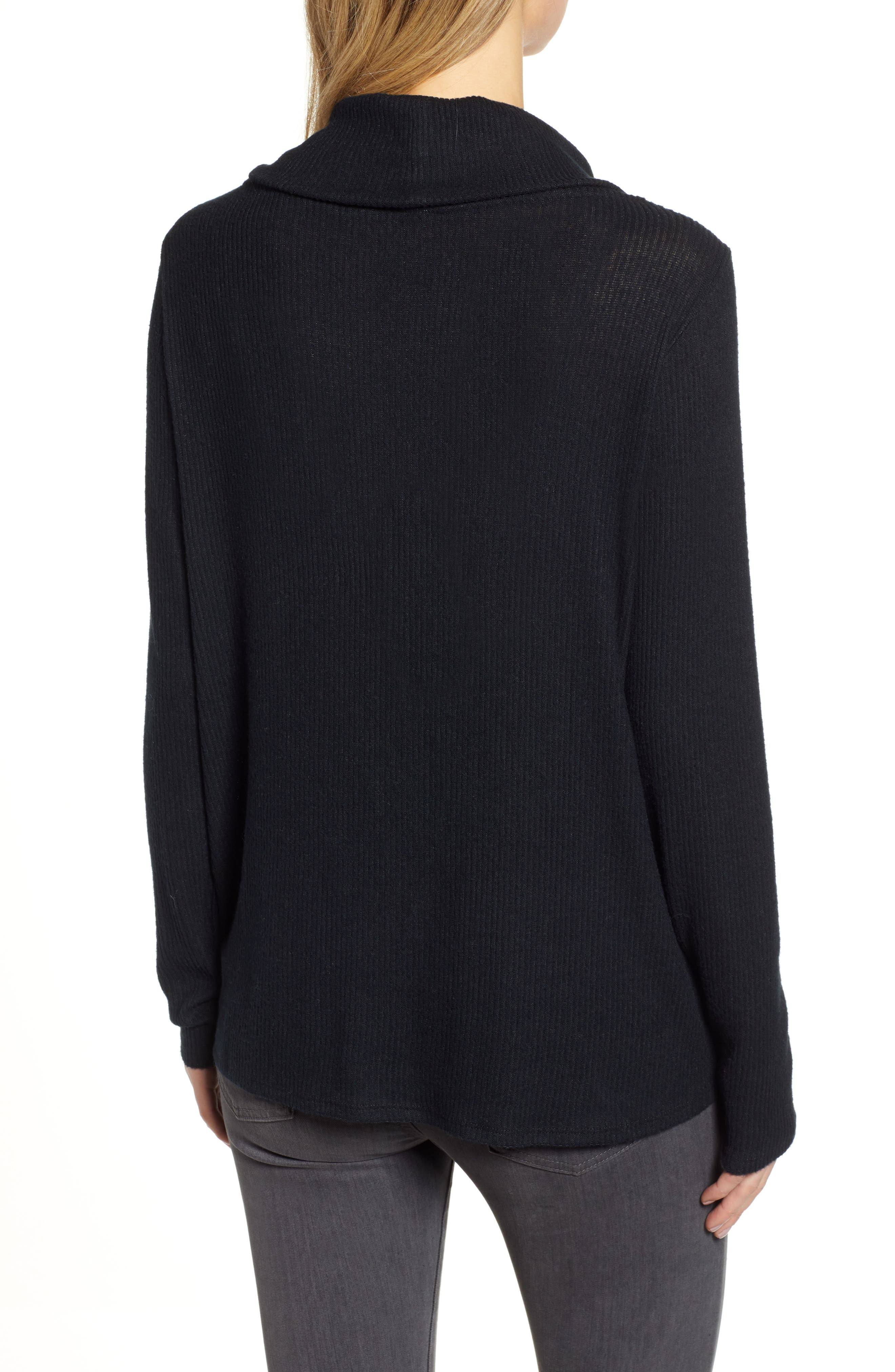 Off-Duty Cozy Ribbed Tunic,                             Alternate thumbnail 2, color,                             BLACK