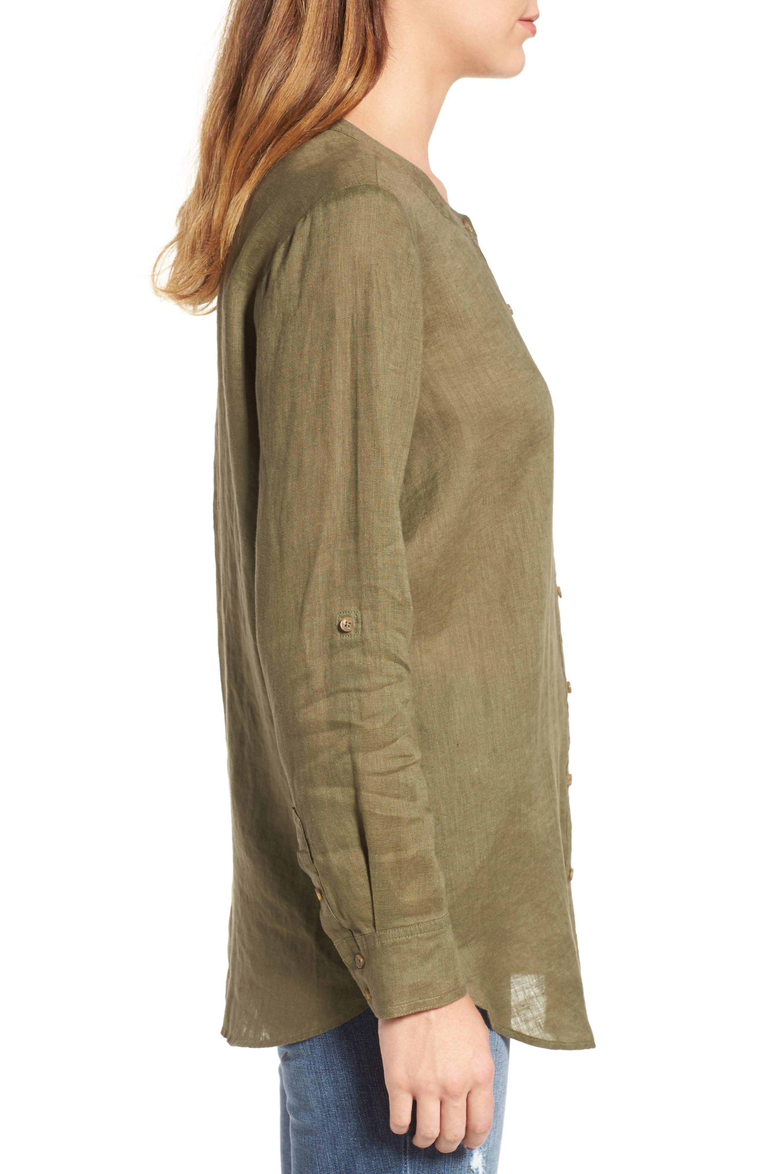 Two by Vince Camuto Collarless Linen Shirt,                             Alternate thumbnail 13, color,
