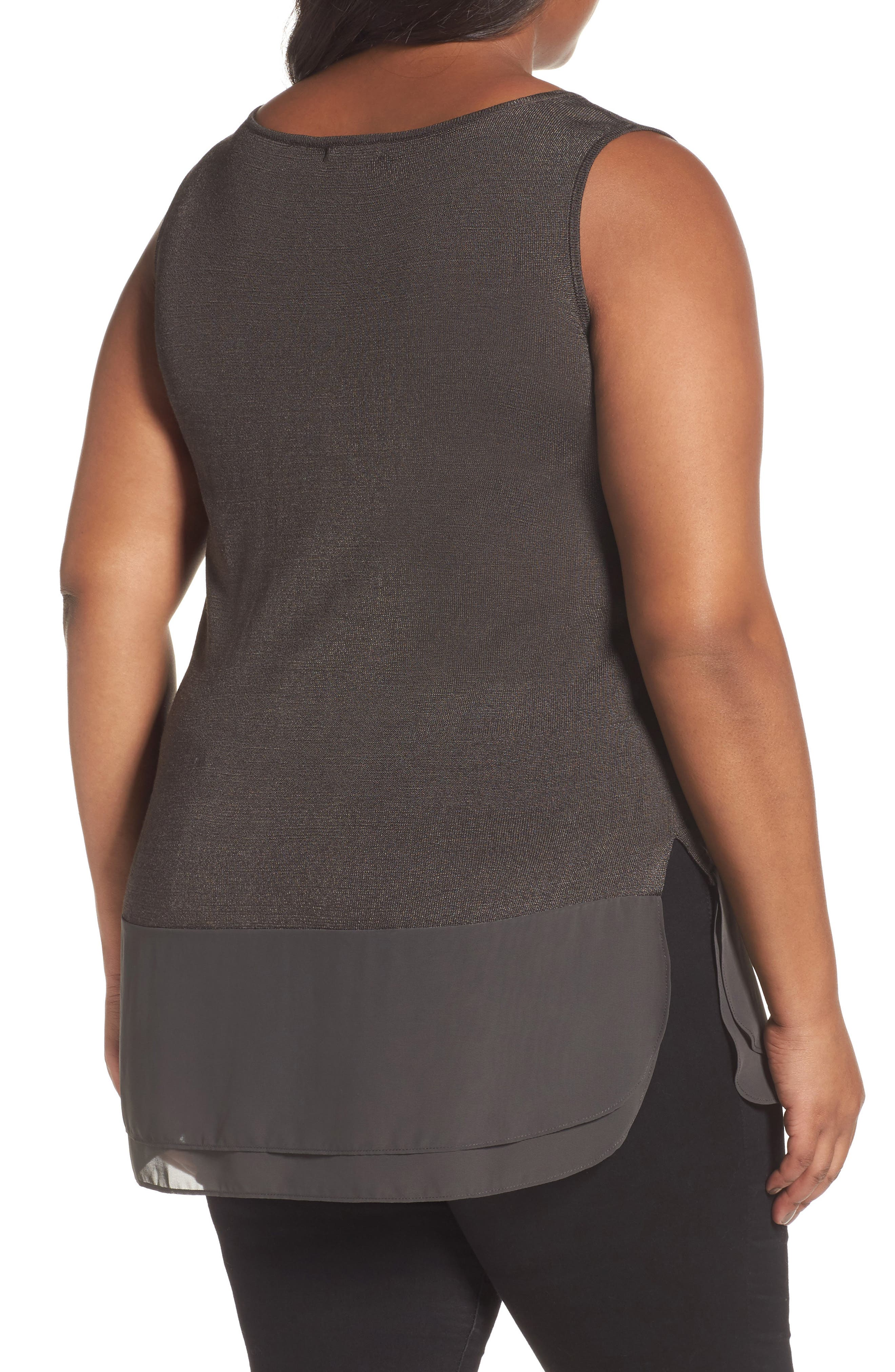 Chiffon Trim Tank,                             Alternate thumbnail 2, color,                             TERRENE