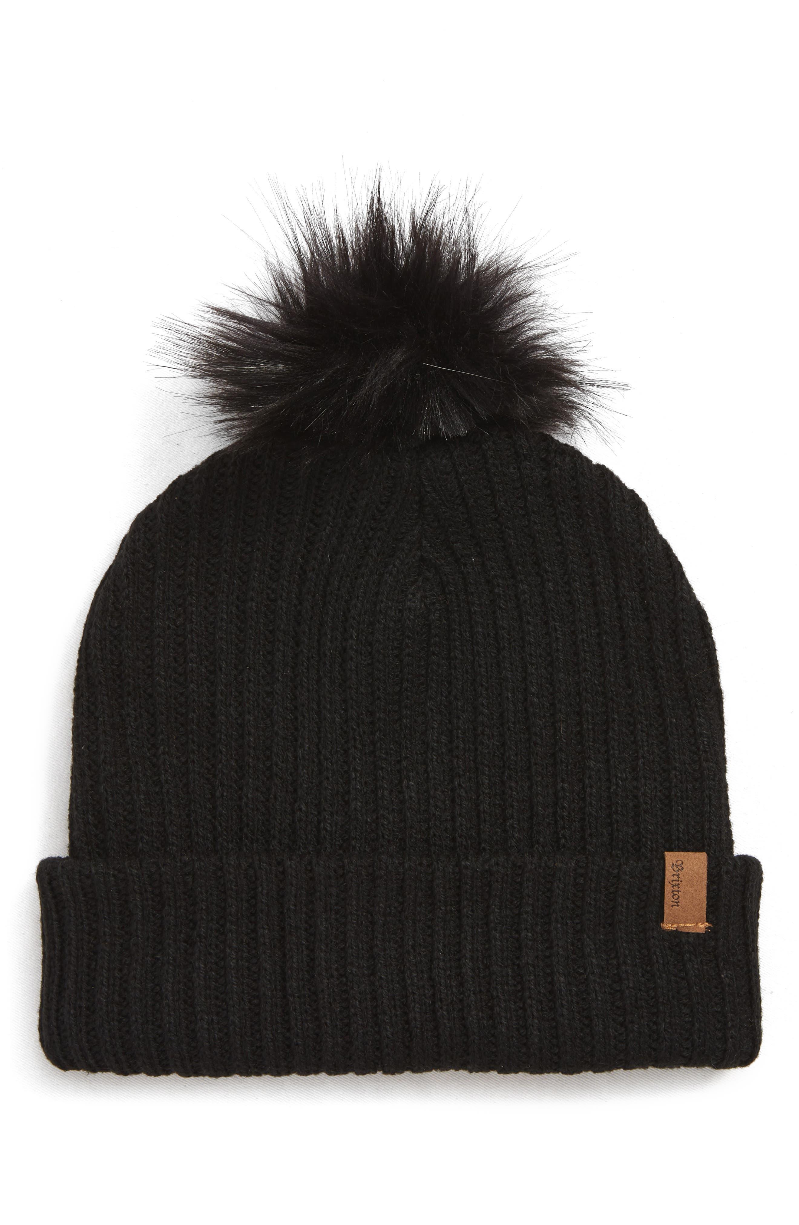Alison Faux Fur Pom Beanie Hat,                             Main thumbnail 1, color,                             BLACK