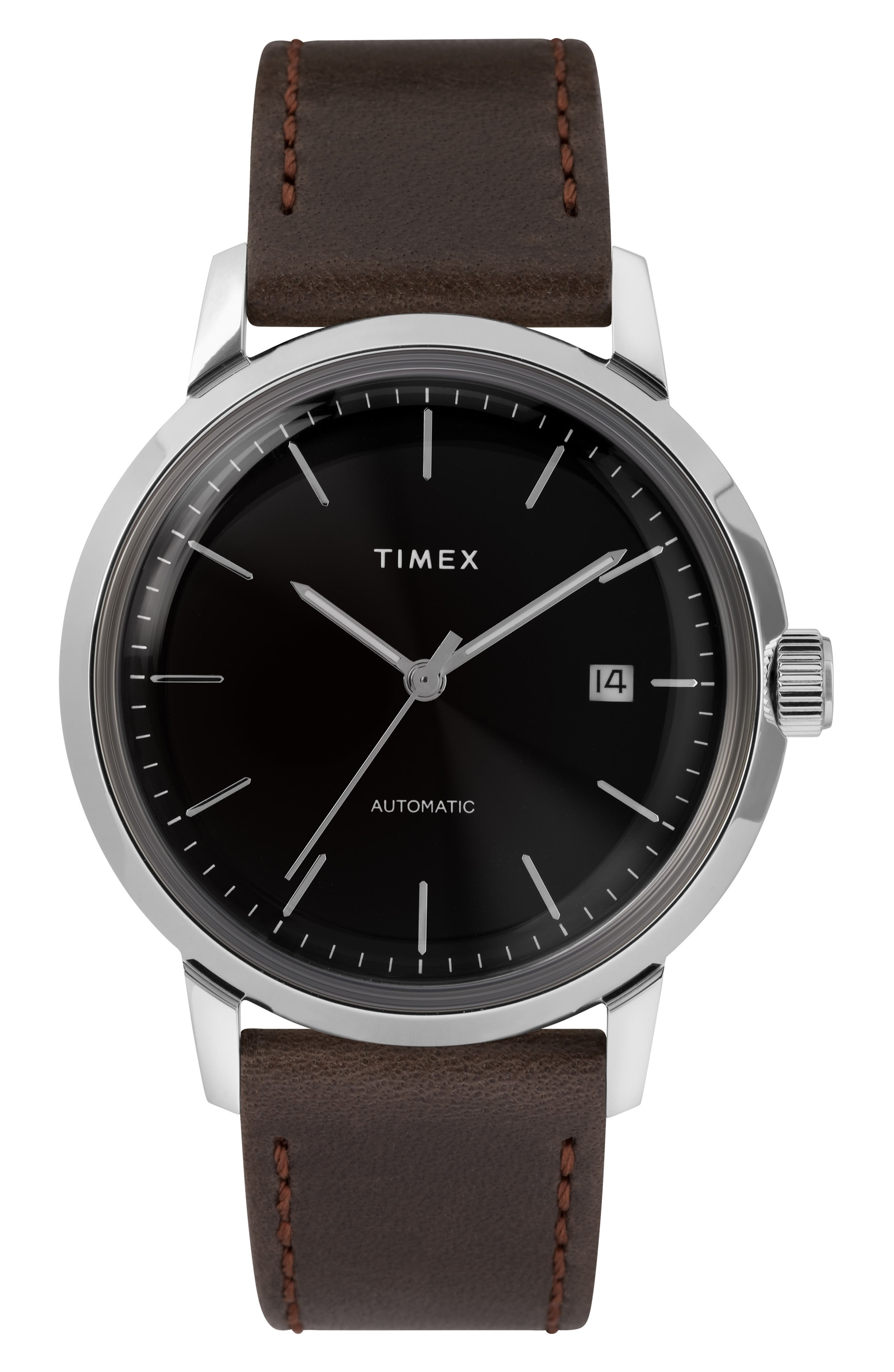 Timex Marlin Automatic Leather Strap Watch, 40Mm