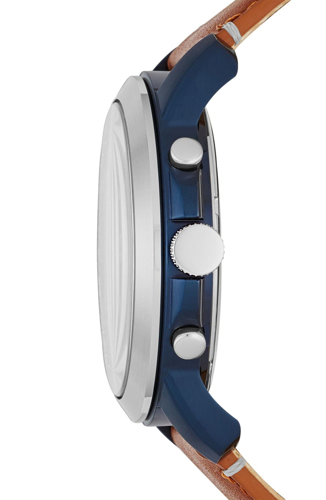 'Grant' Round Chronograph Leather Strap Watch, 44mm,                             Alternate thumbnail 48, color,