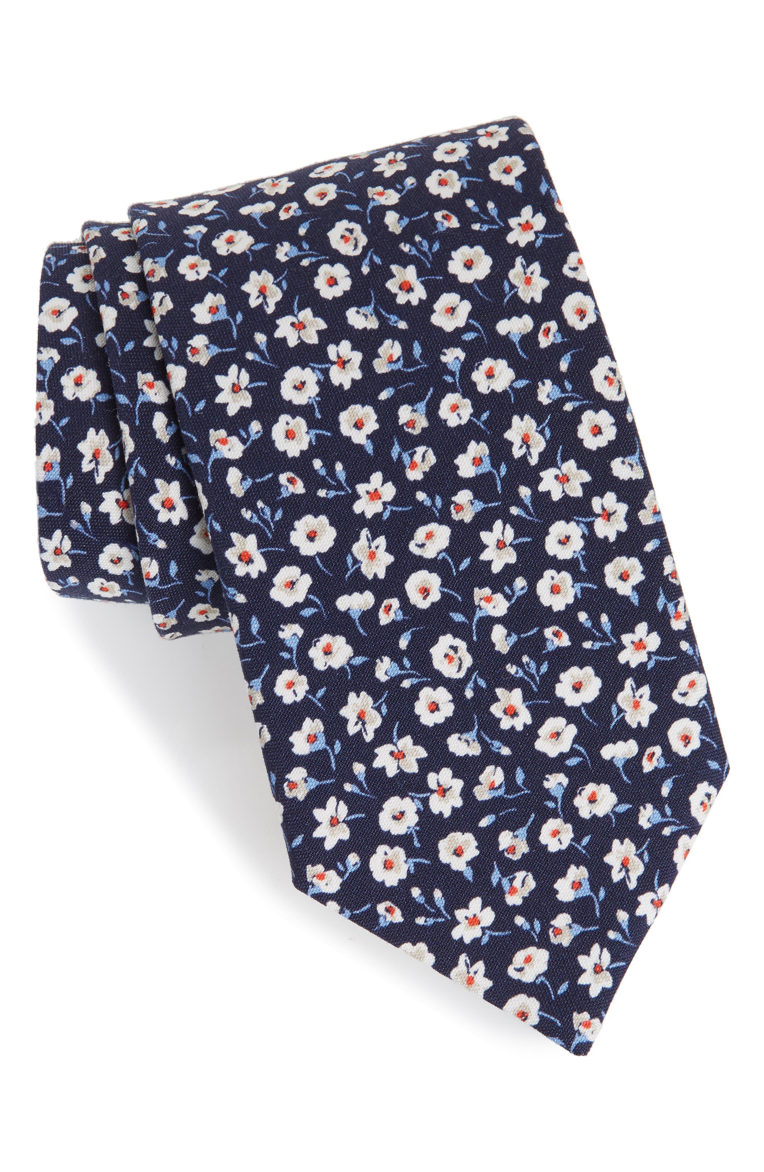 Floral Cotton & Silk Tie,                         Main,                         color, NAVY