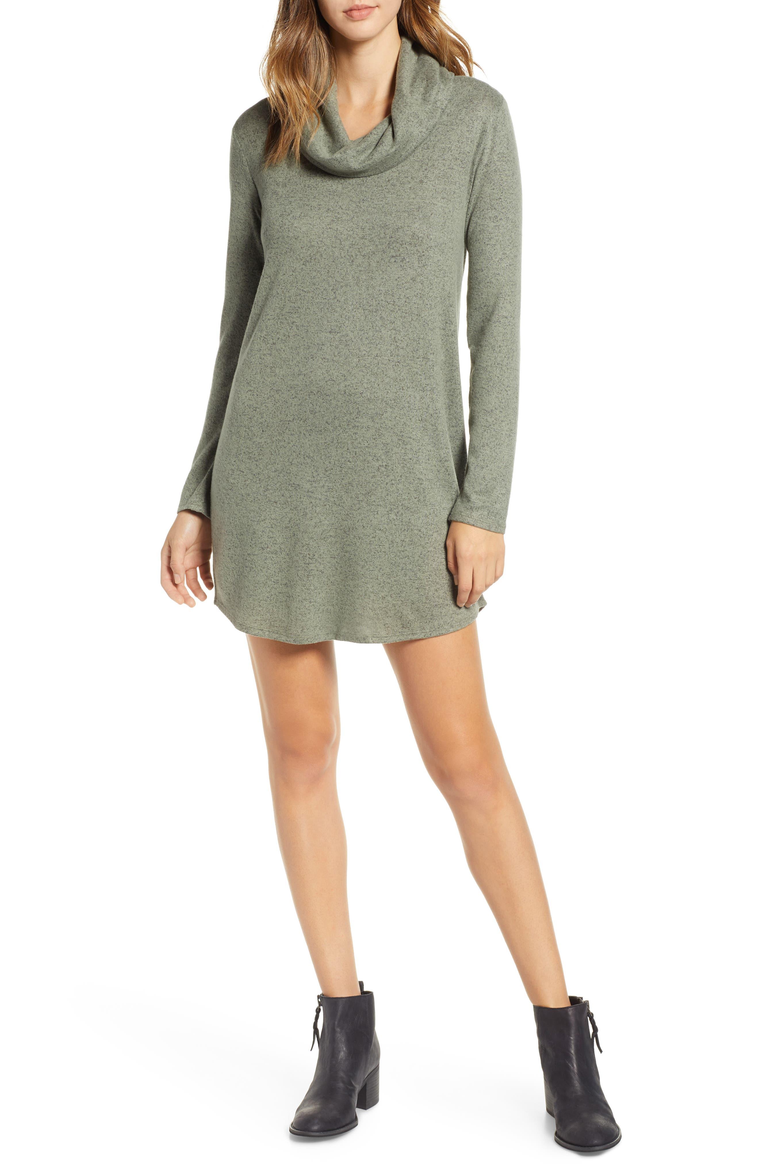 Socialite Cowl Neck Knit Dress, Green
