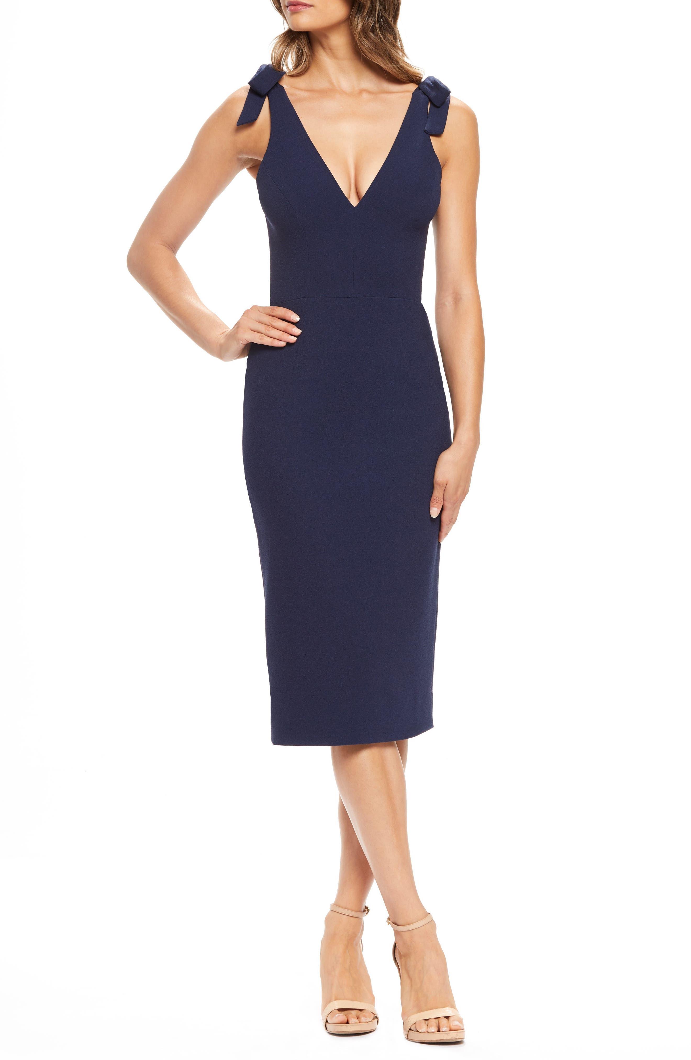 Dress The Population Lita Tie Cocktail Dress, Blue