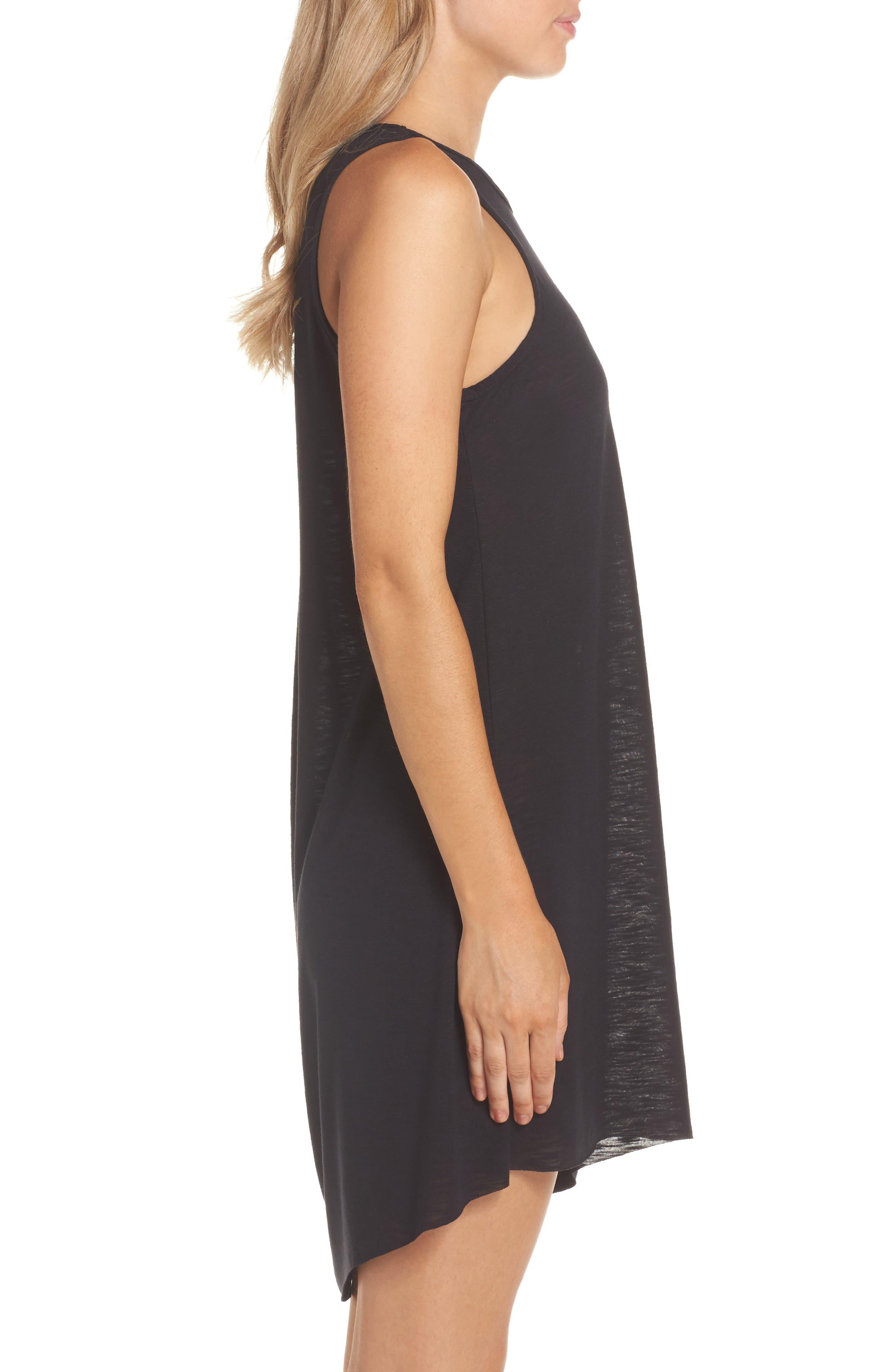 Breezy Basics Cover-Up Dress,                             Alternate thumbnail 3, color,                             BLACK