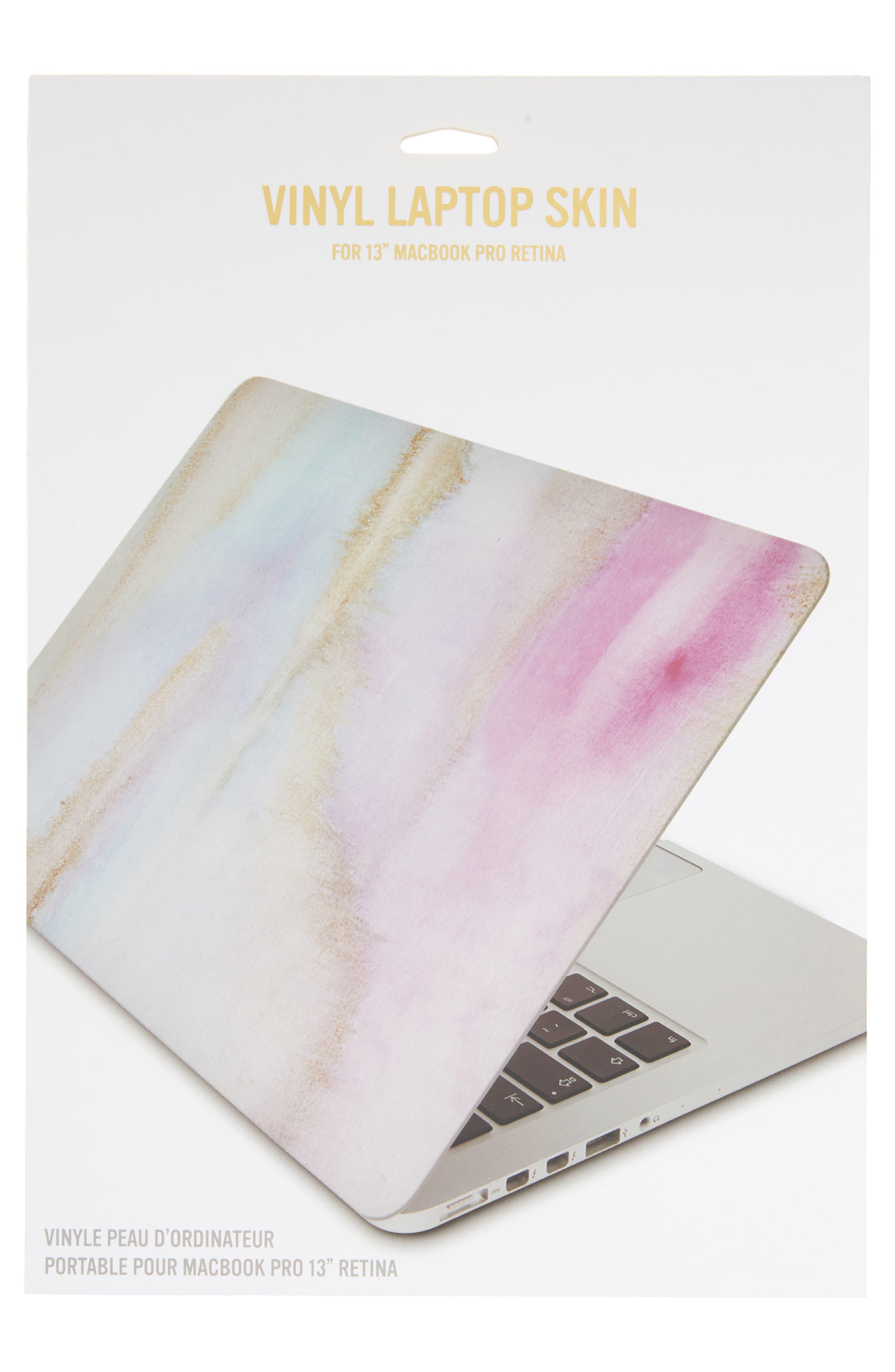 Watercolor Marble 13-Inch Macbook Skin,                             Alternate thumbnail 2, color,                             PASTEL MULTI