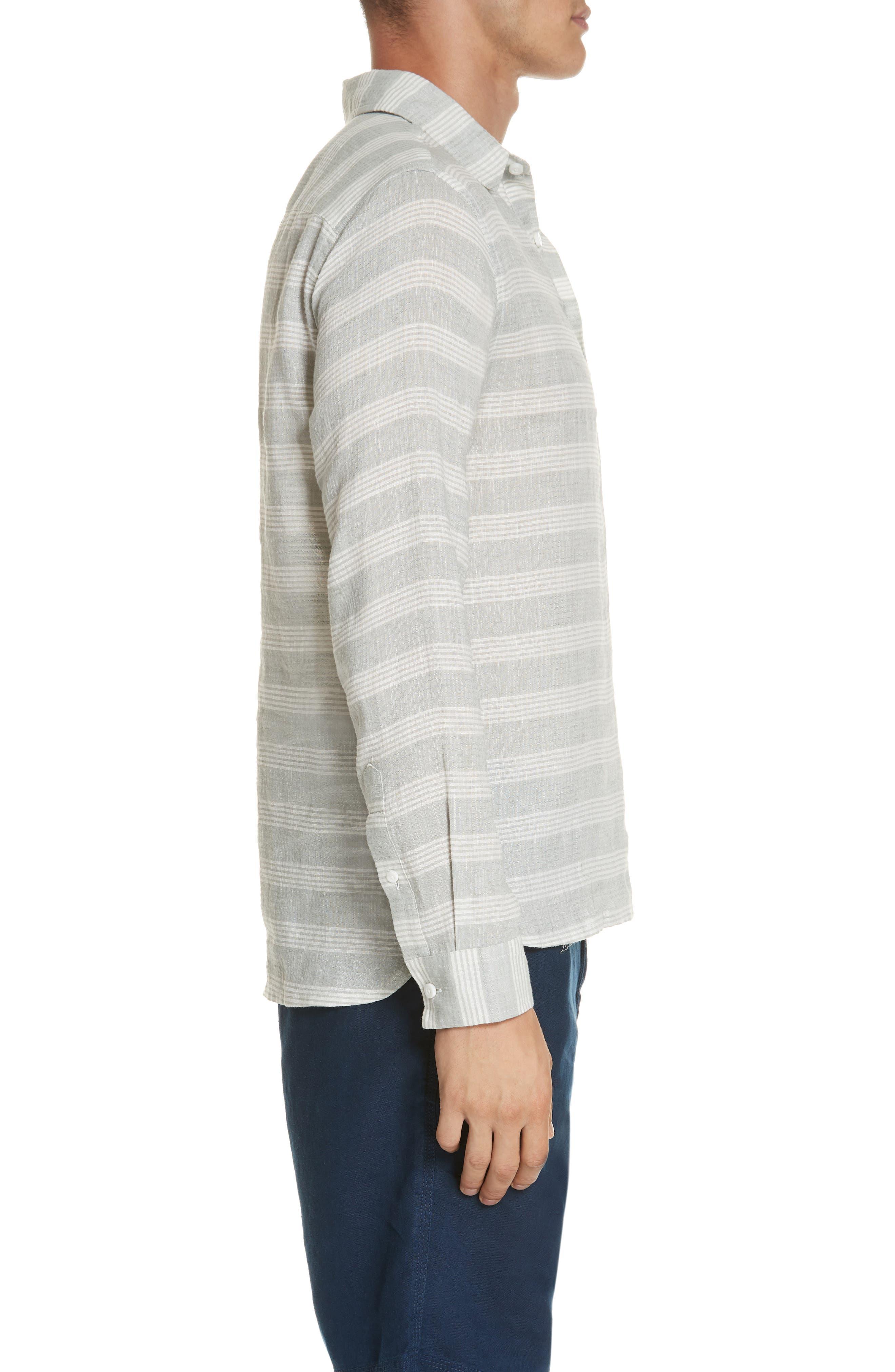 Chambray Stripe Pullover Woven Shirt,                             Alternate thumbnail 4, color,                             GREY