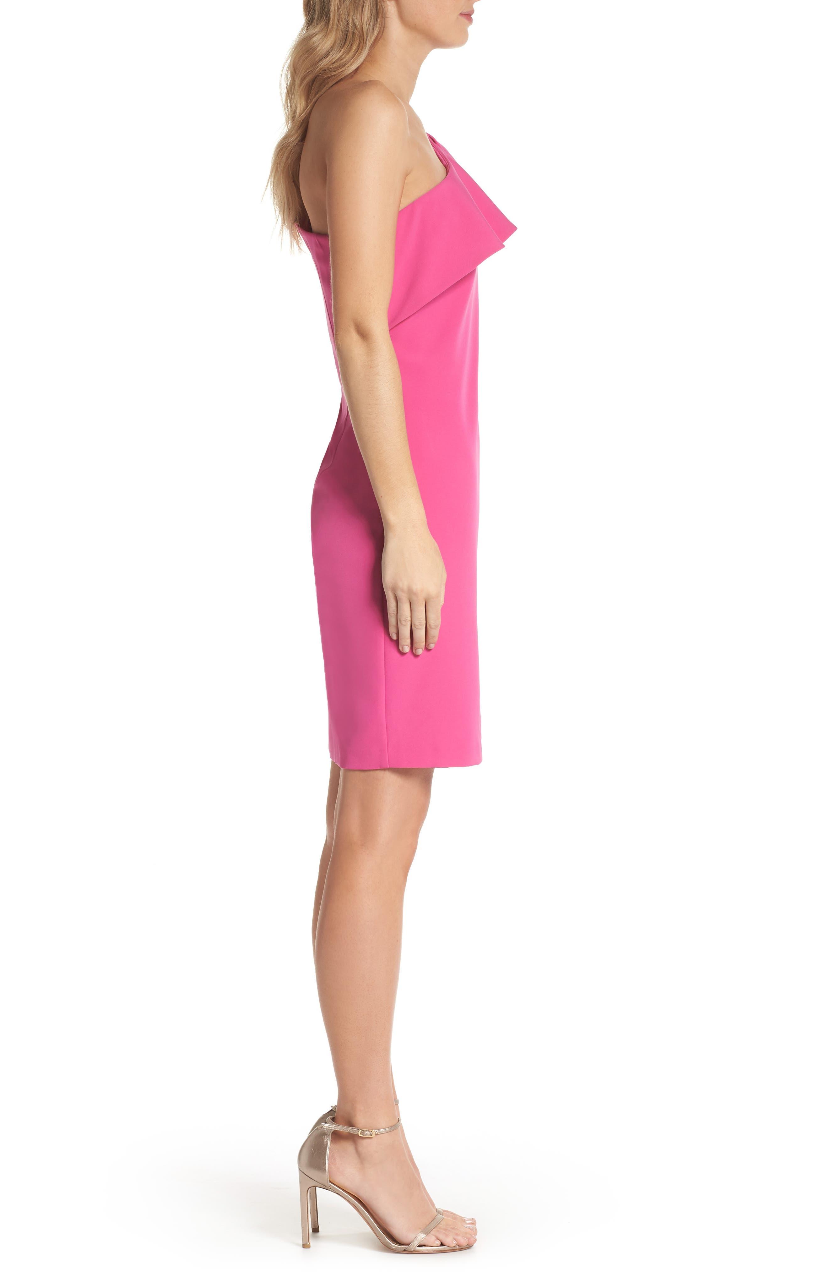 One Shoulder Bow Sheath Dress,                             Alternate thumbnail 3, color,                             FUCHSIA