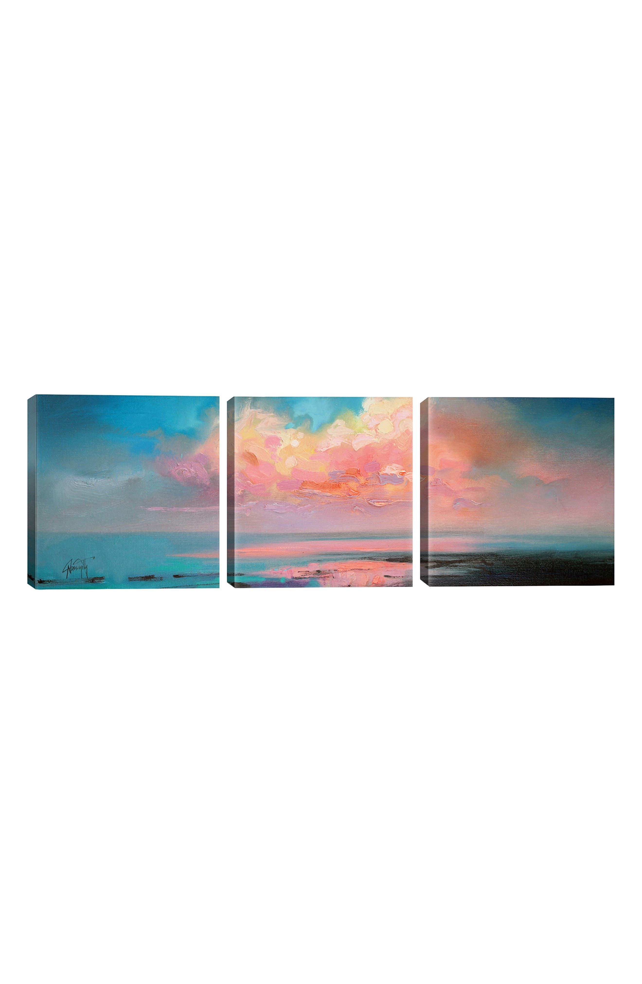 Atlantic Cumulus Giclée Print Canvas Triptych, Main, color, BLUE