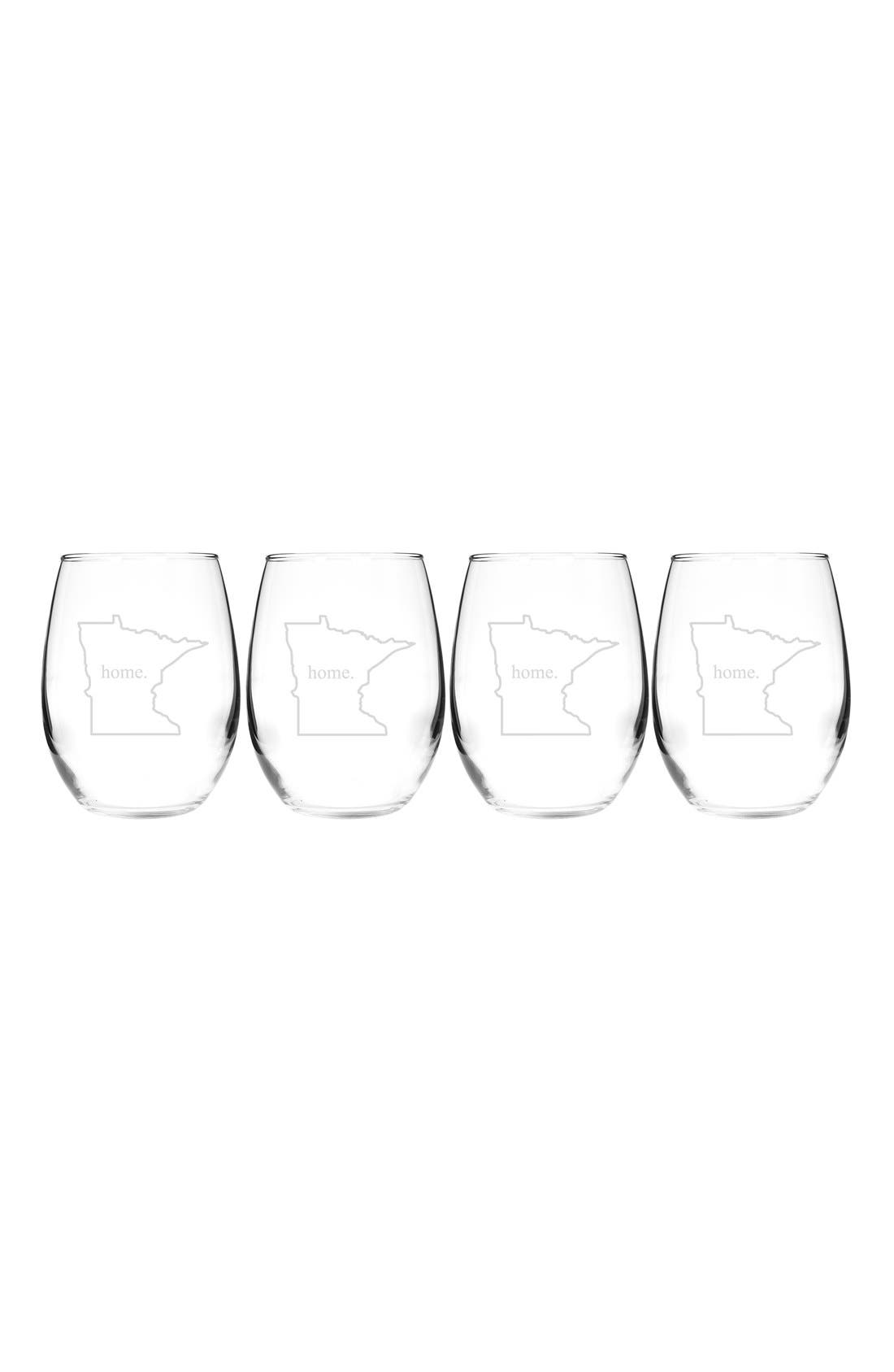 Home State Set of 4 Stemless Wine Glasses,                             Main thumbnail 24, color,