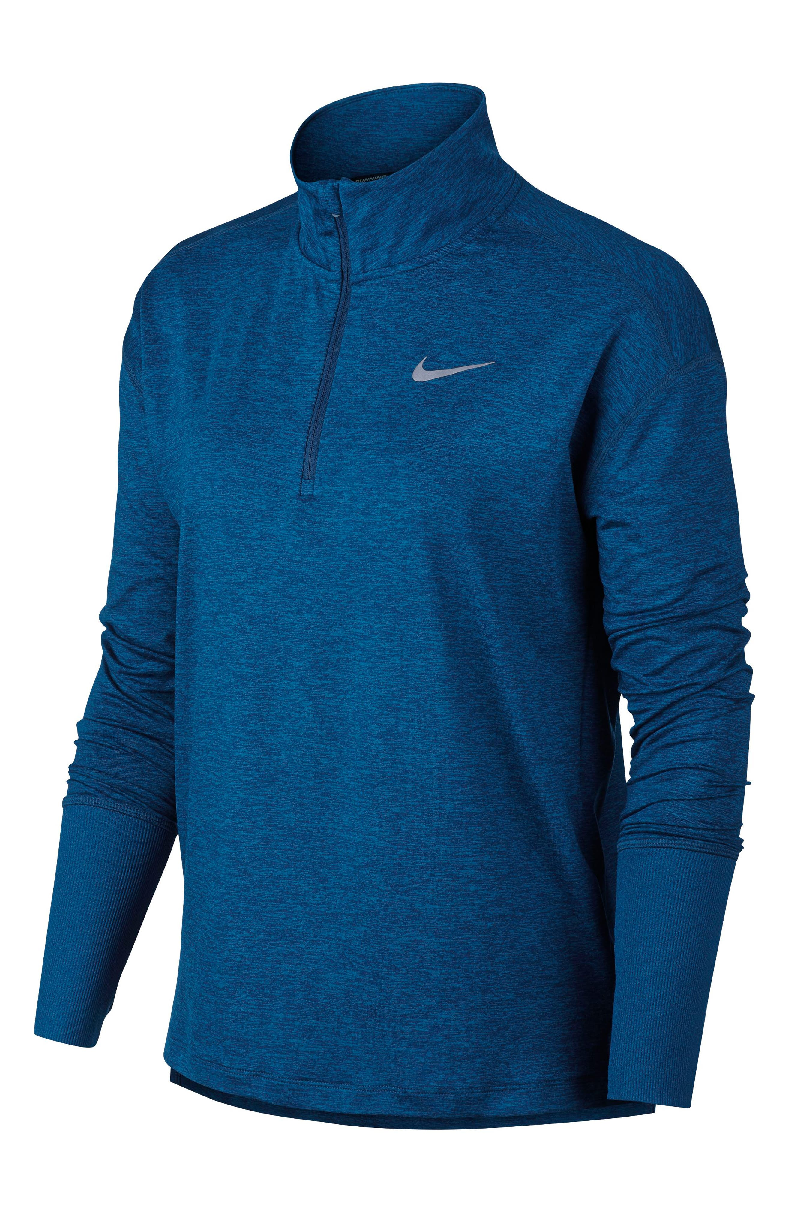 Element Long-Sleeve Running Top,                         Main,                         color, BLUE FORCE/ GREEN ABYSS
